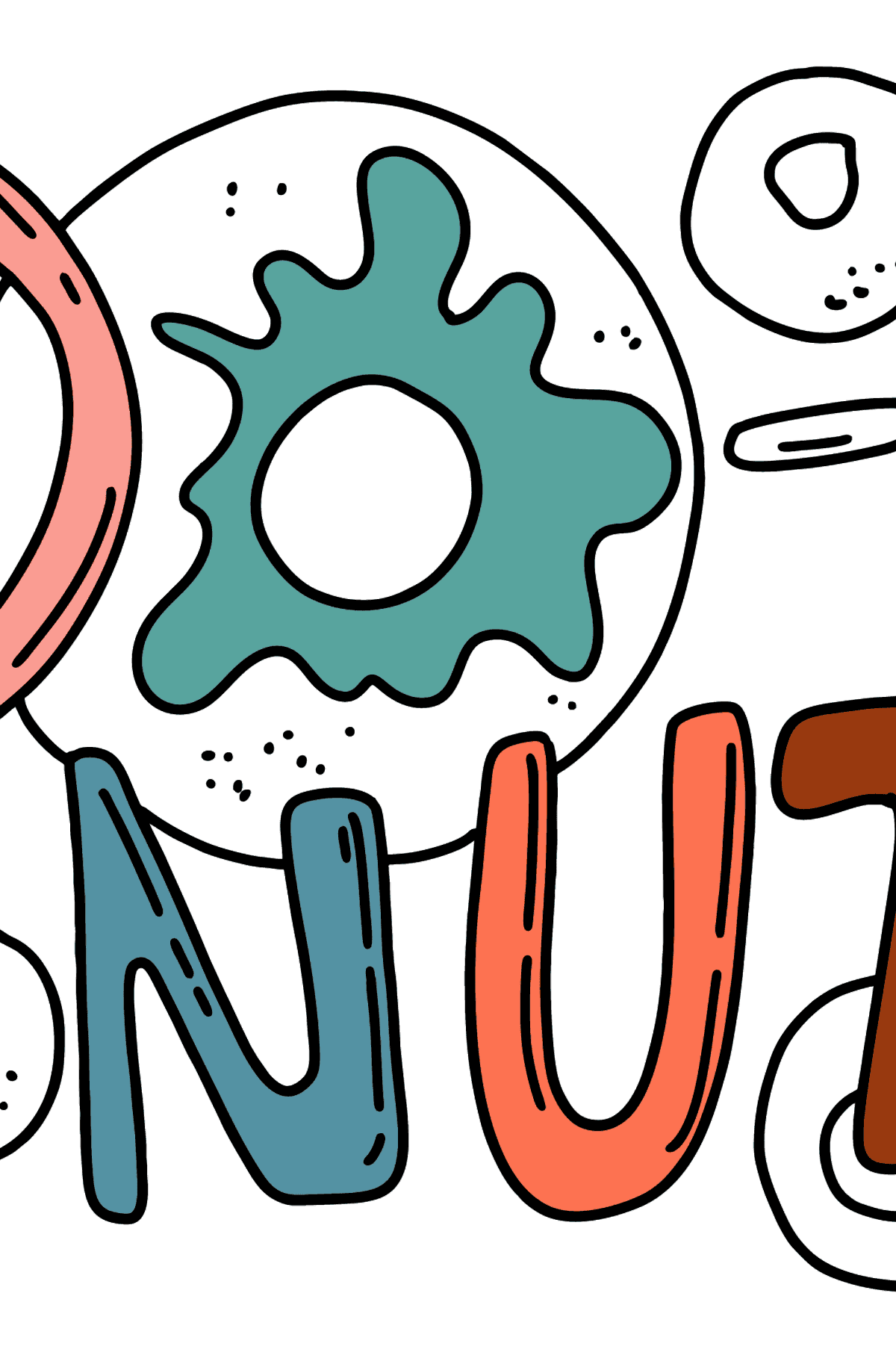 Donut lettering coloring page - Coloring Pages for Kids