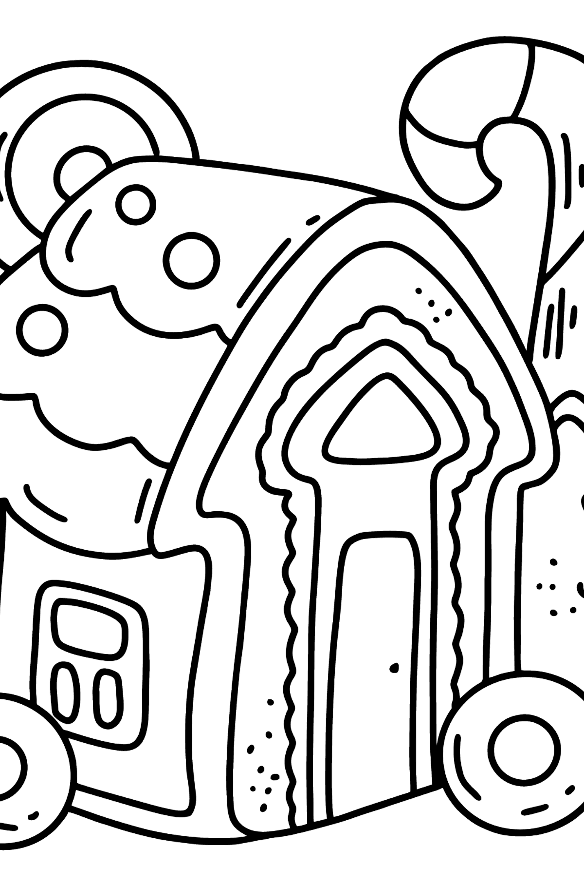 Gingerbread House with Candy Stick coloring page - Coloring Pages for Kids