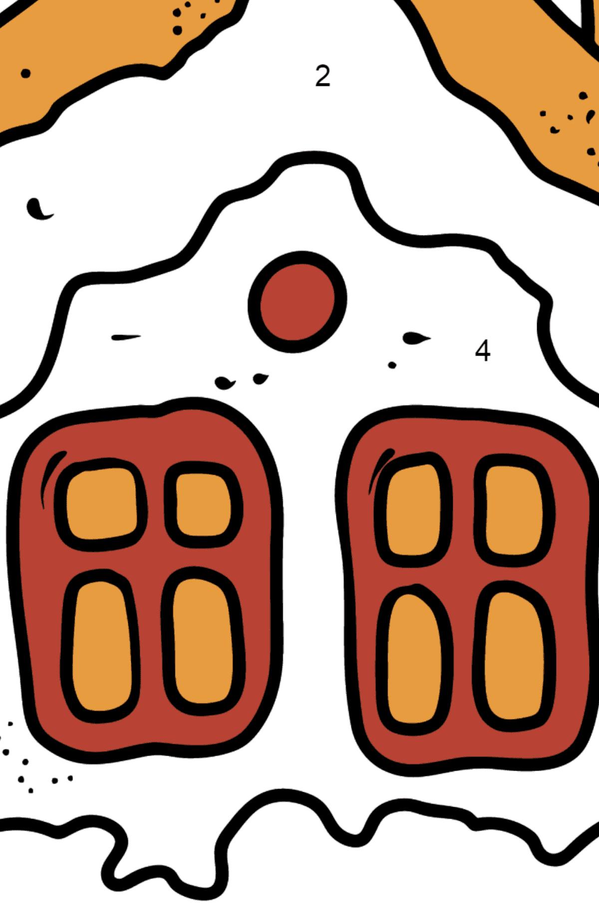 Раскраска пряничный домик - Раскраска по Номерам для Детей