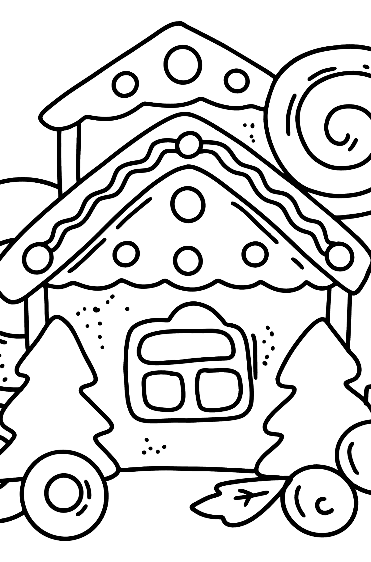 Gingerbread House with Lollipop and Pretzels coloring page - Coloring Pages for Kids