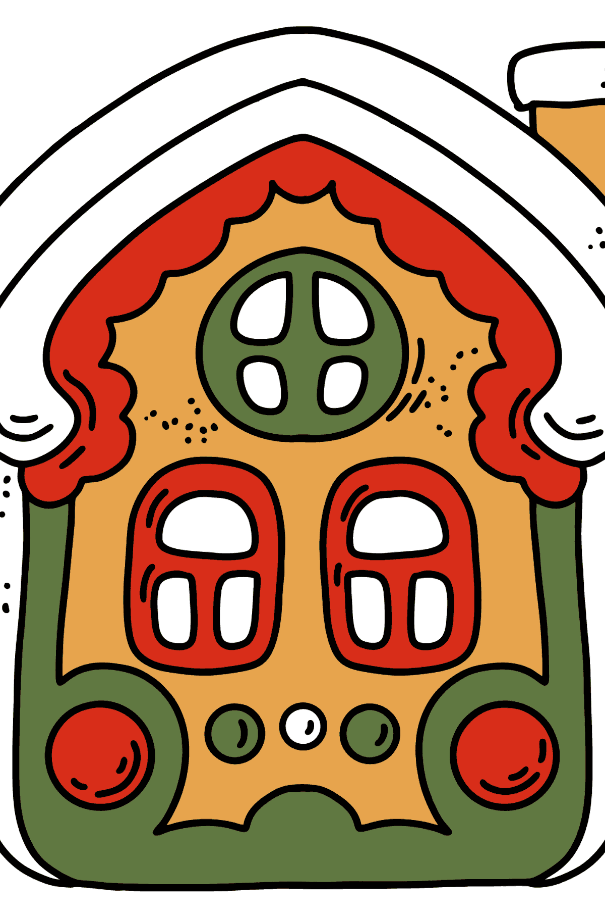 Red Green Gingerbread House coloring page - Coloring Pages for Kids