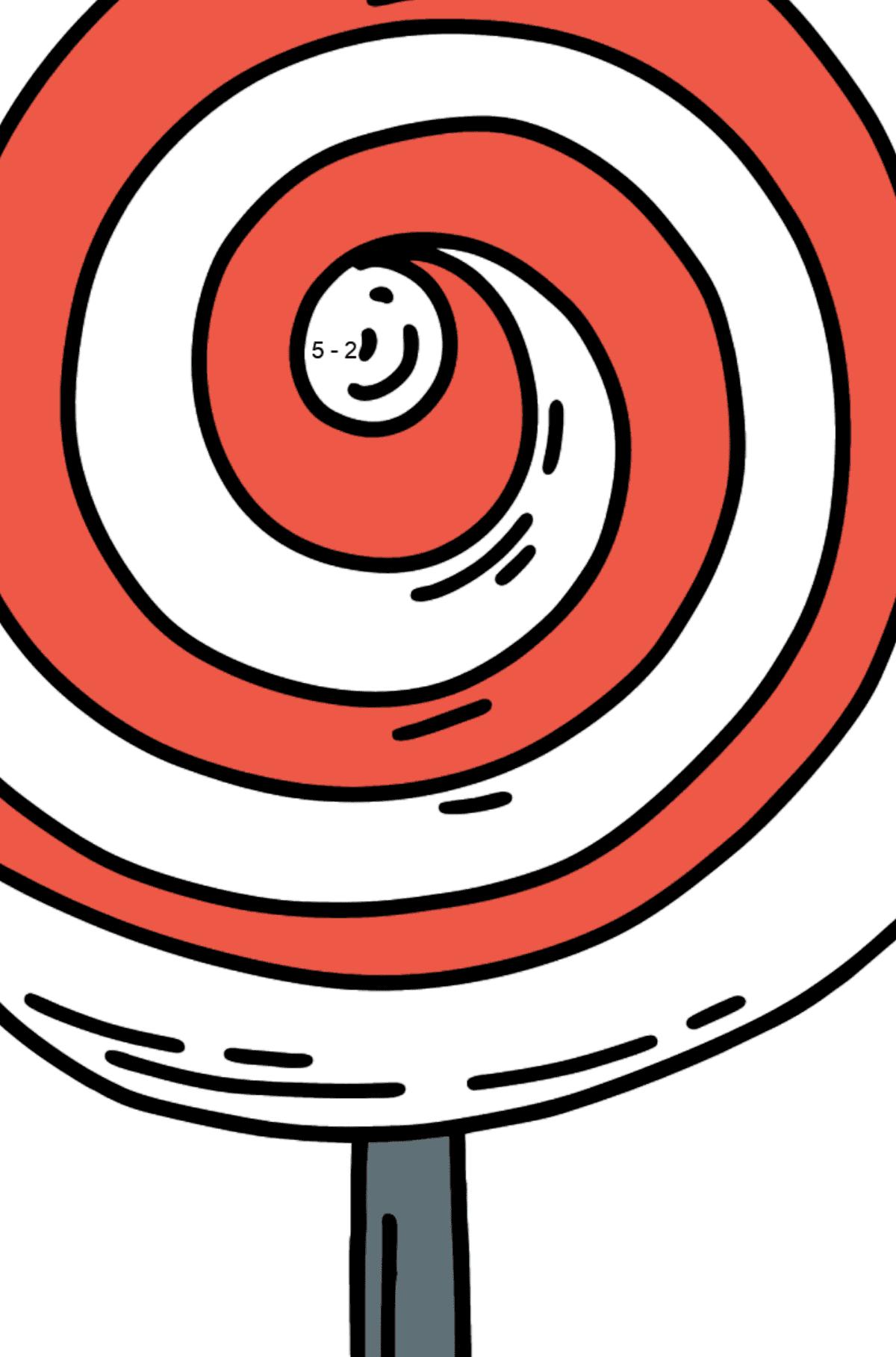 Раскраска Lollipop на палочке на палочке - Математическая Раскраска - Вычитание для Детей