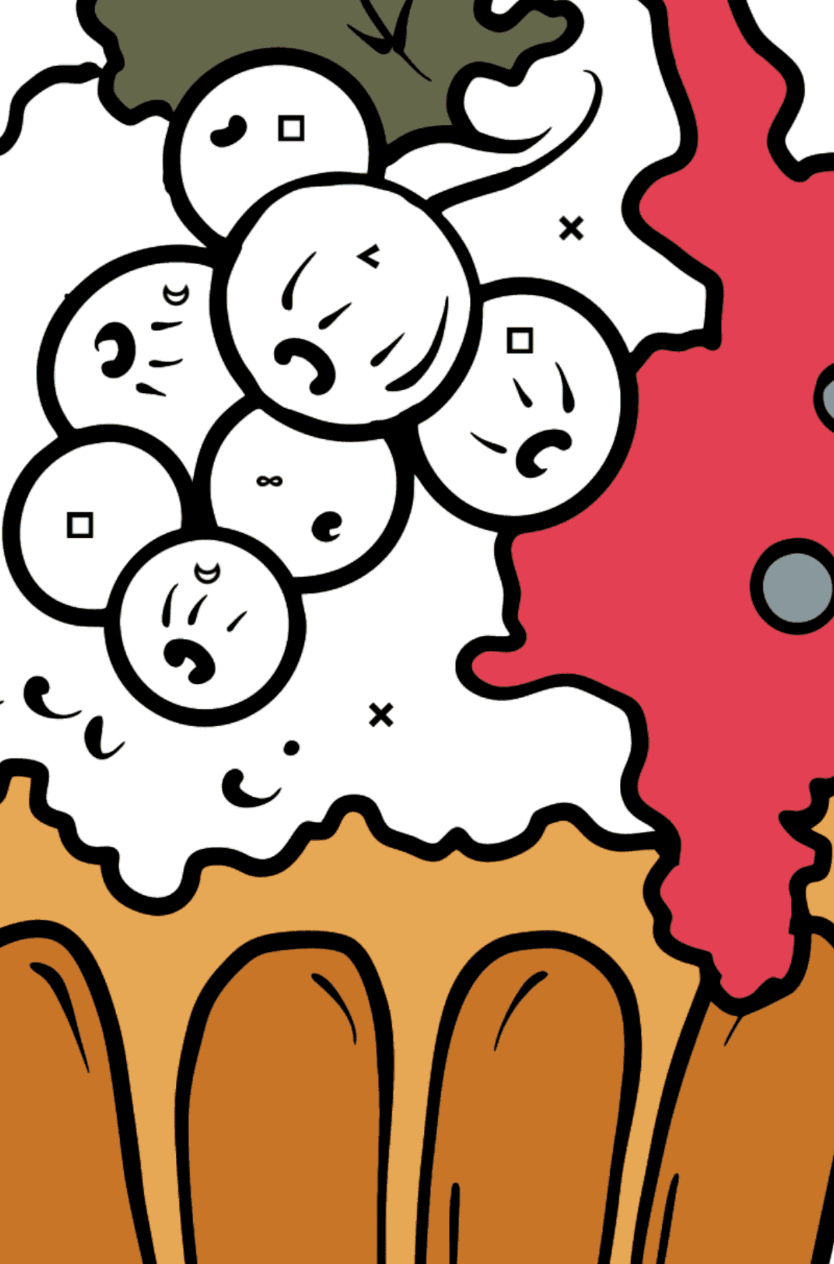 Раскраска кекс со смородиной - Раскраска по Символам для Детей