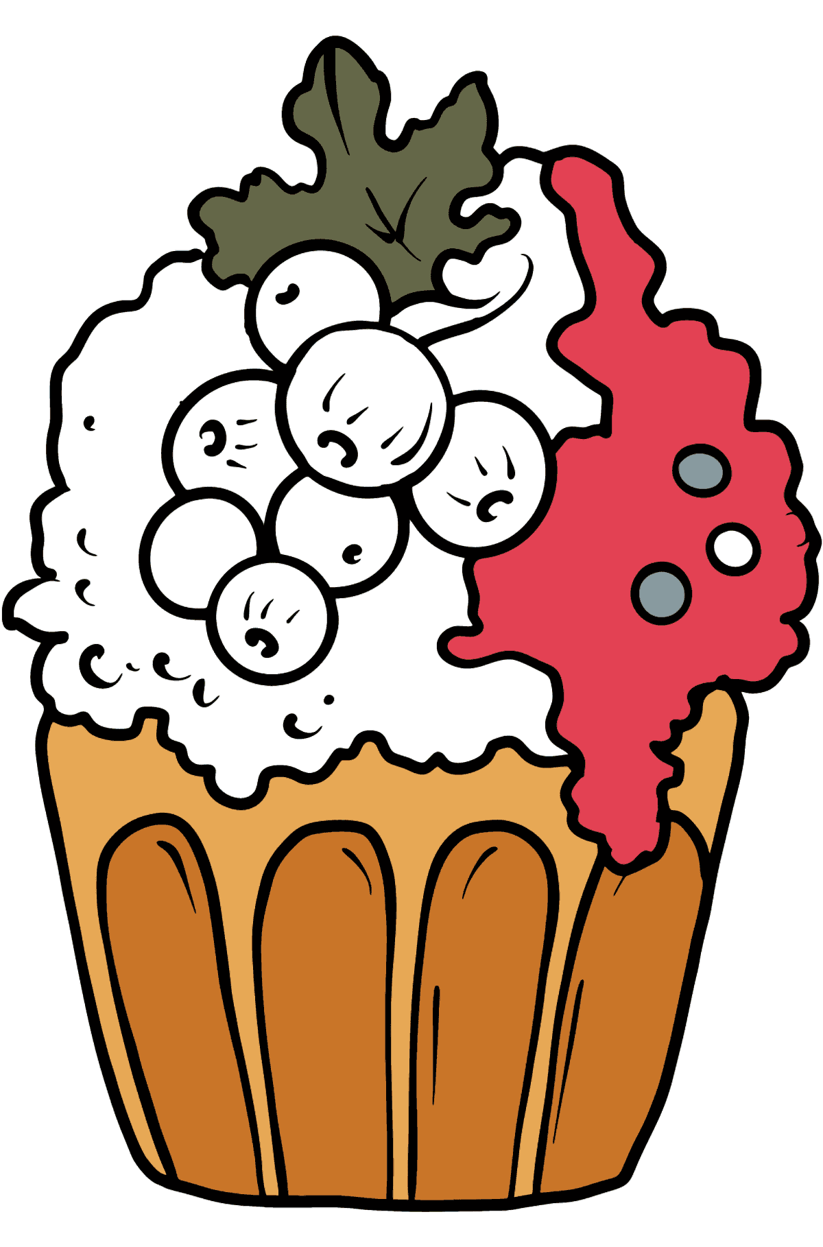 Cupcake with Currants coloring page - Coloring Pages for Kids