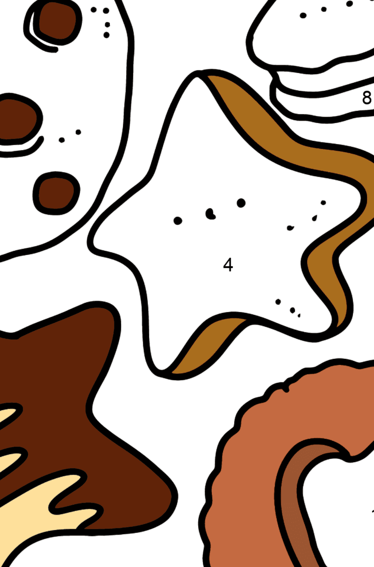 Раскраска набор печенья - Раскраска по Номерам для Детей