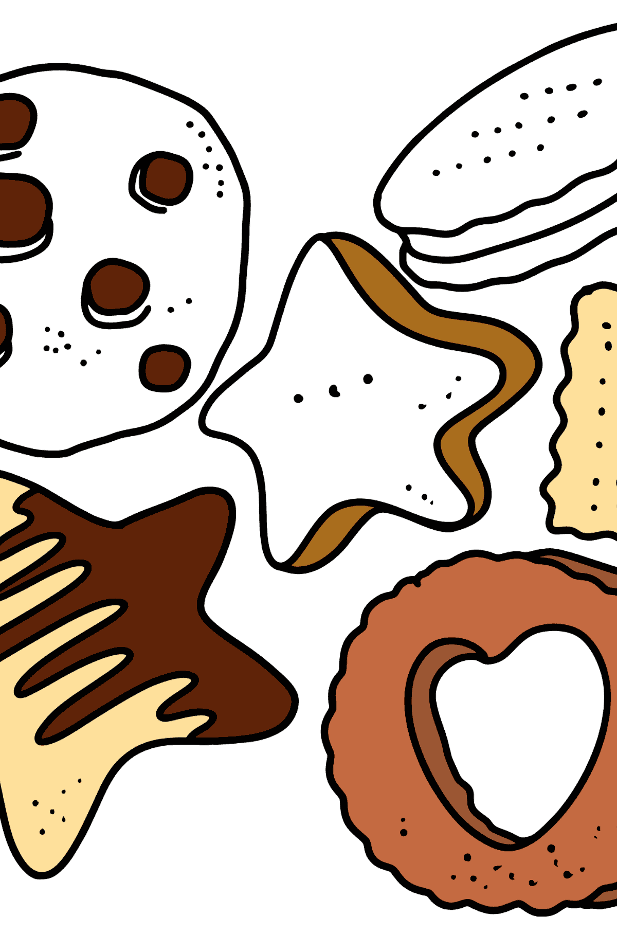 Coloring page - Set of cookies - Coloring Pages for Kids