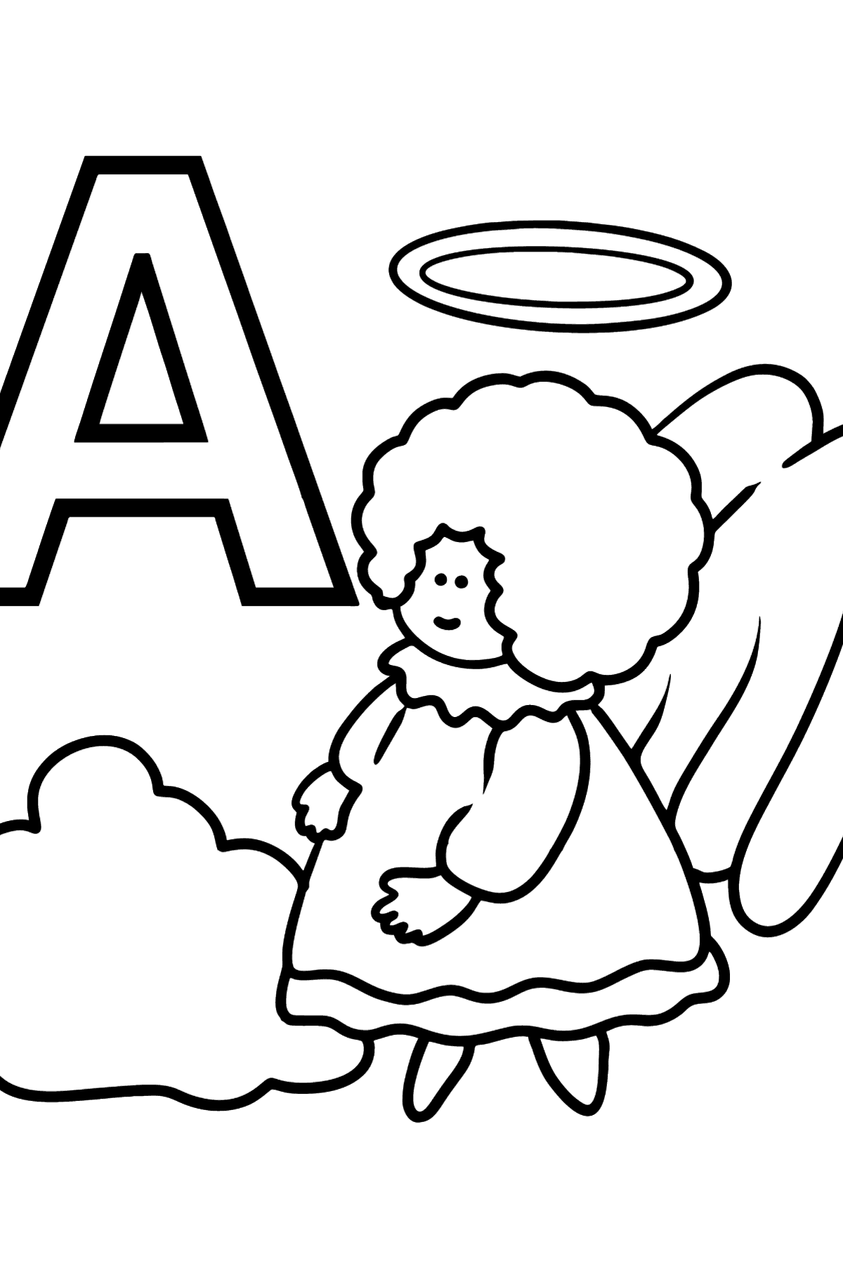 English Letter A coloring pages - ANGEL - Coloring Pages for Kids