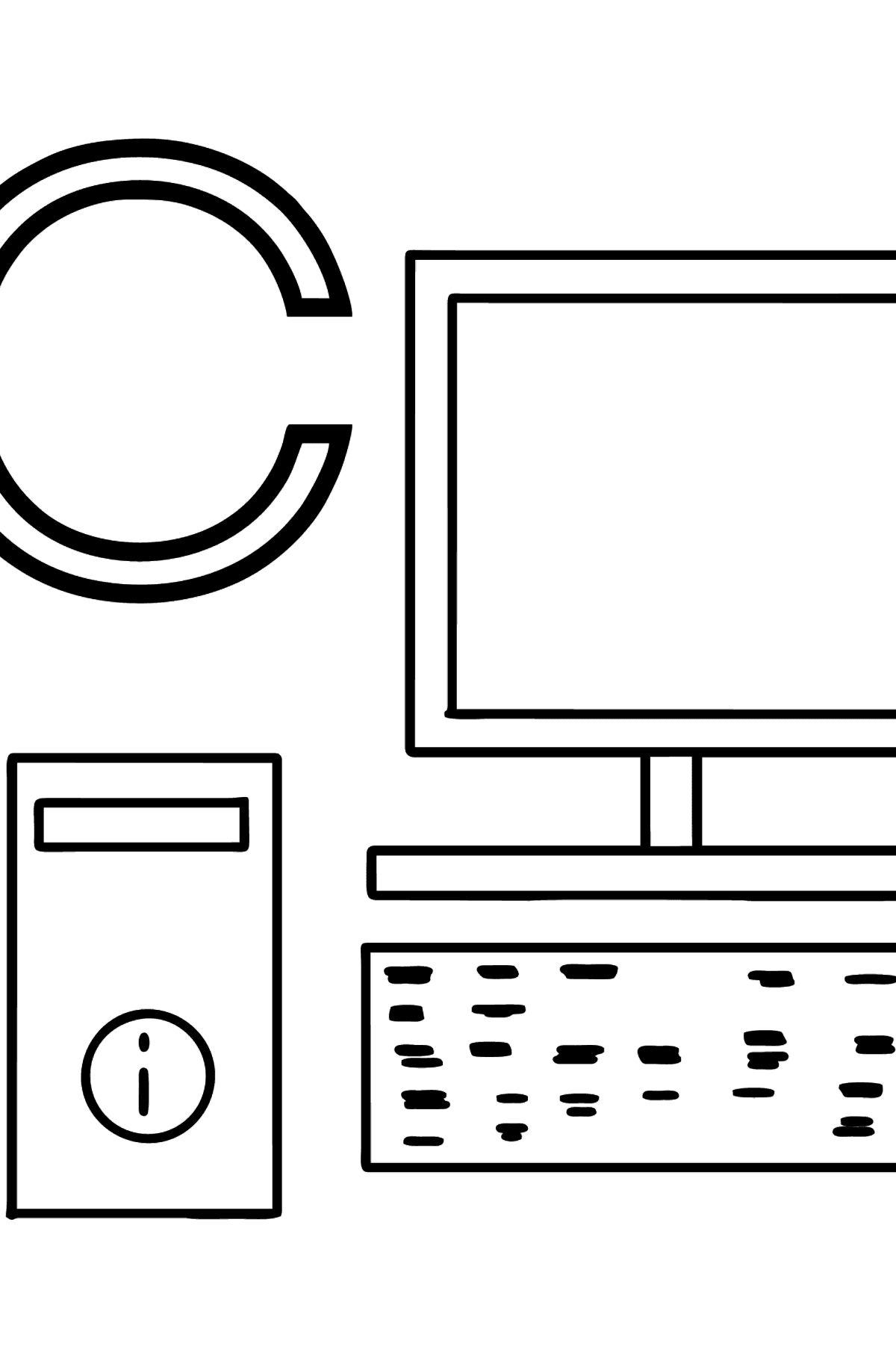 English Letter C coloring pages - COMPUTER - Coloring Pages for Kids