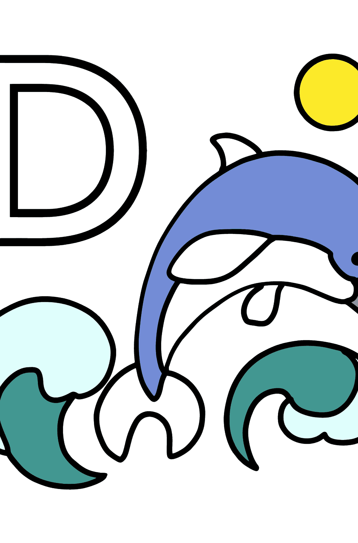 English Letter D coloring pages - DOLPHIN - Coloring Pages for Kids