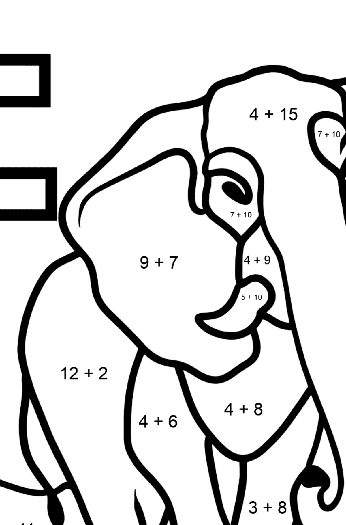 English Letter E coloring pages - ELEPHANT - Math Coloring - Addition for Kids