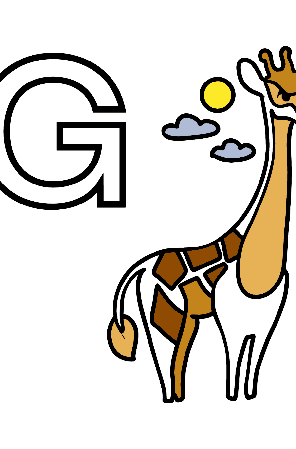Dibujo de Letra G inglesa para colorear - GIRAFFE - Dibujos para Colorear para Niños