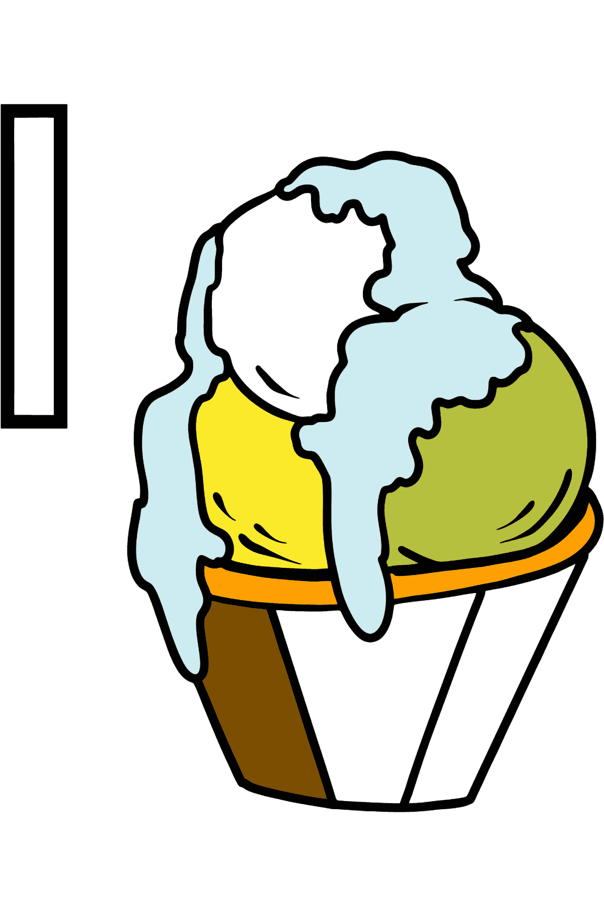 English Letter I coloring pages - ICE CREAM - Coloring Pages for Kids