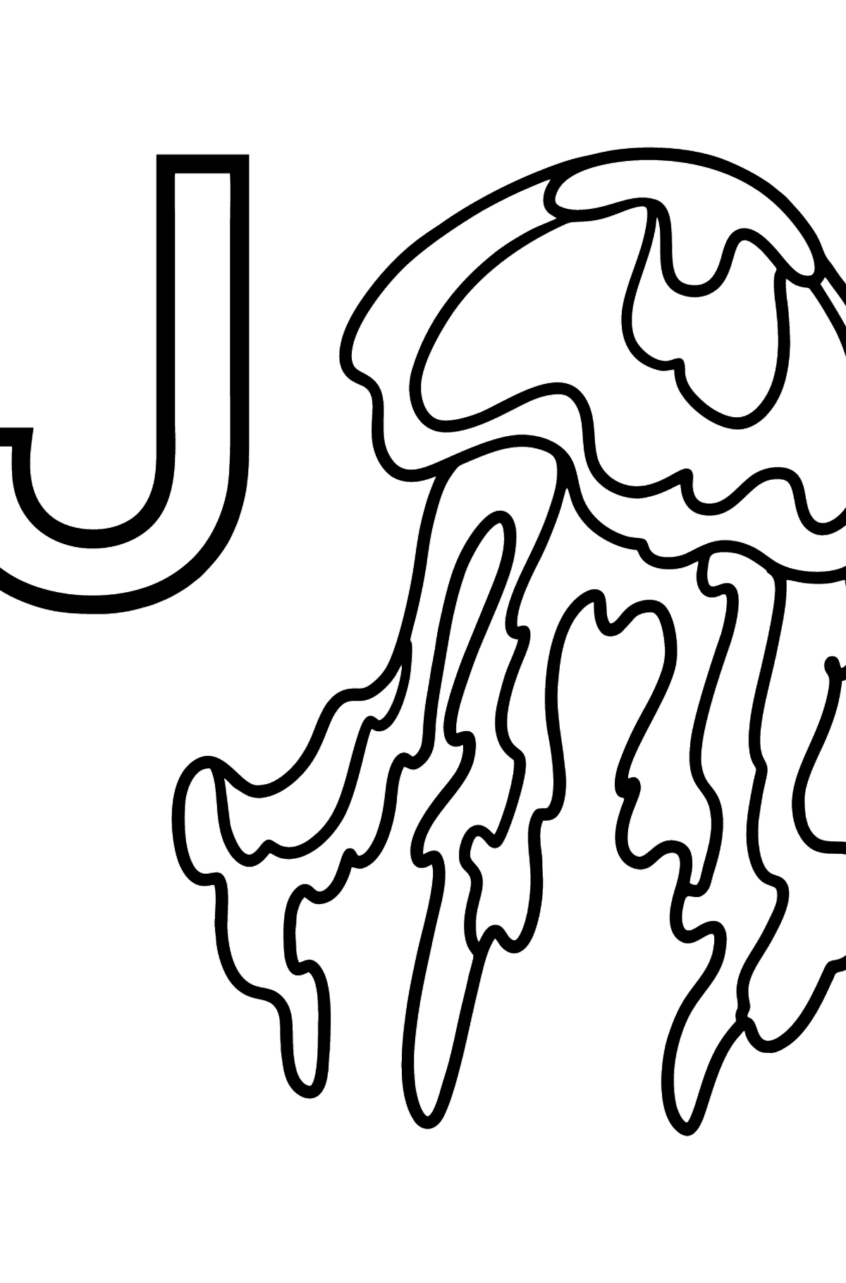 English Letter J coloring pages - JELLYFISH - Coloring Pages for Kids