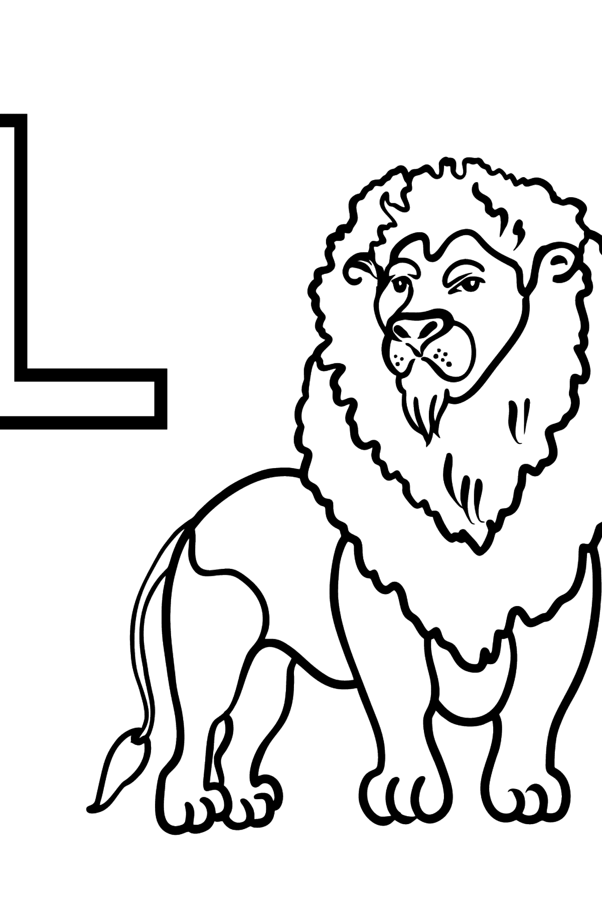 English Letter L coloring pages - LION - Coloring Pages for Kids