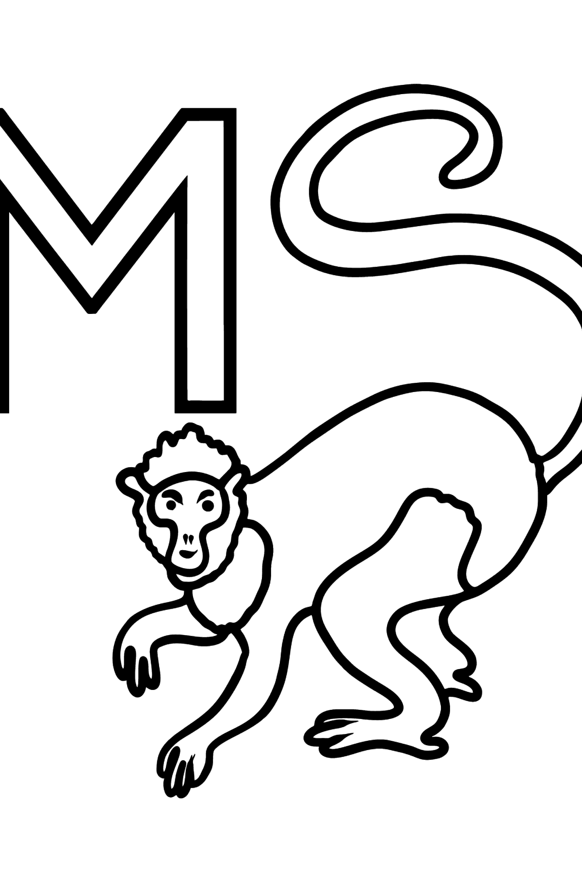 English Letter M coloring pages - A MONKEY - Coloring Pages for Kids