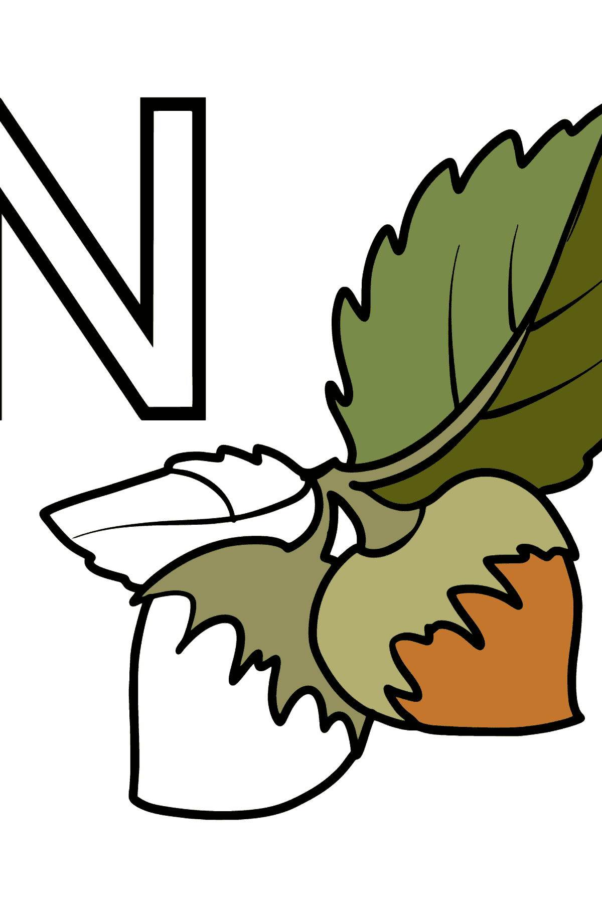 English Letter N coloring pages - NUTS - Coloring Pages for Kids