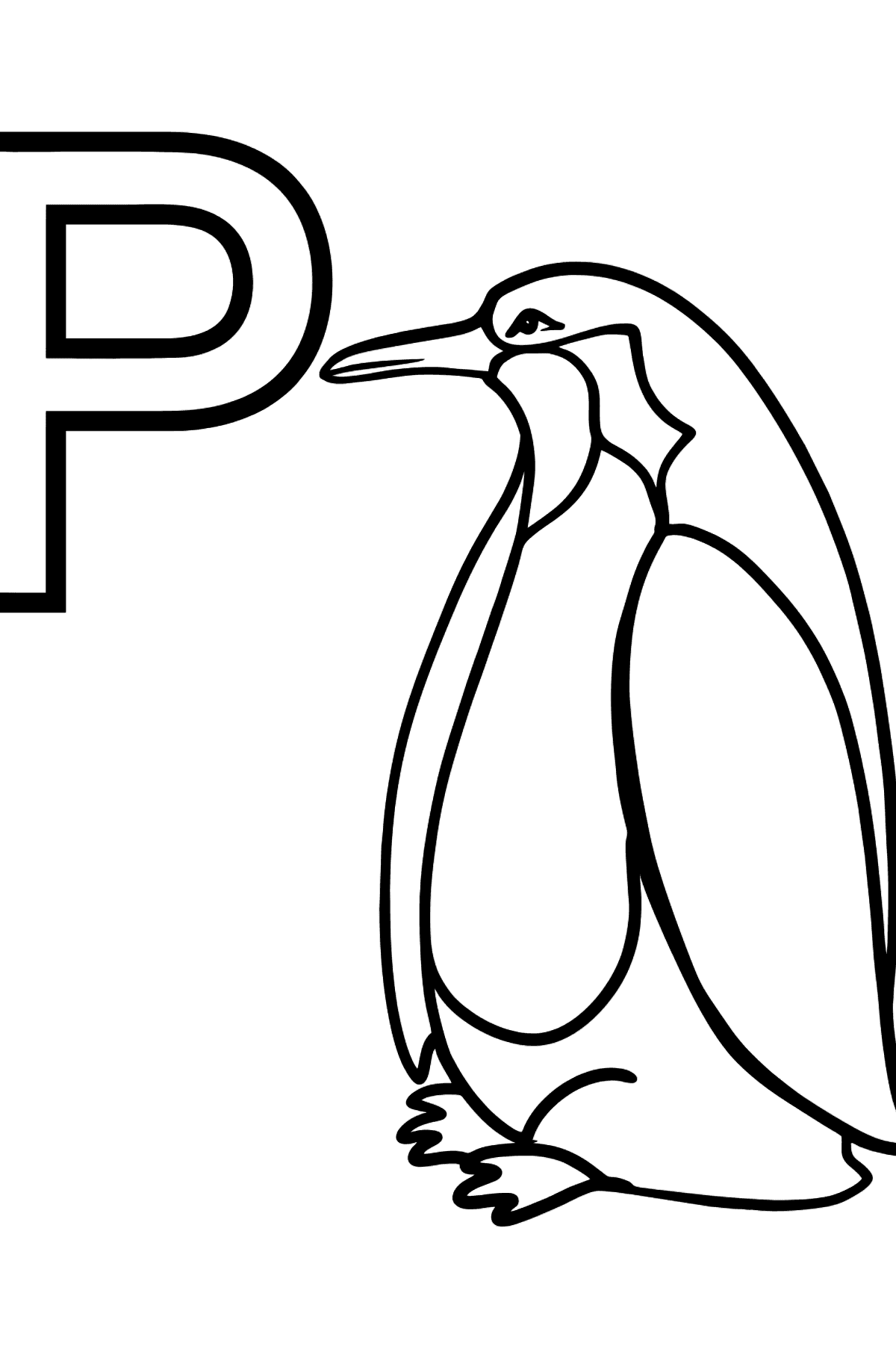 English Letter P coloring pages - PENGUIN - Coloring Pages for Kids