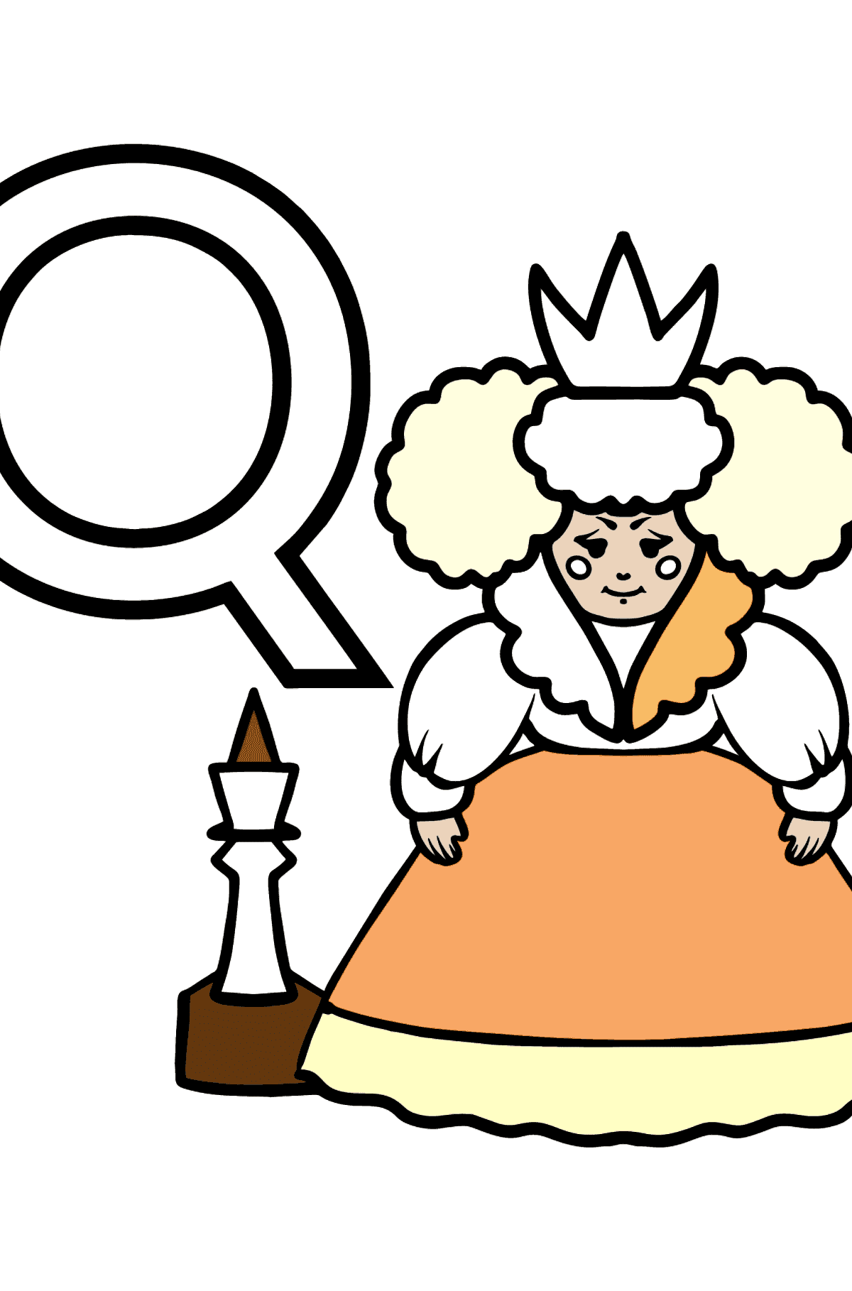 English Letter Q coloring pages - QUEEN - Coloring Pages for Kids