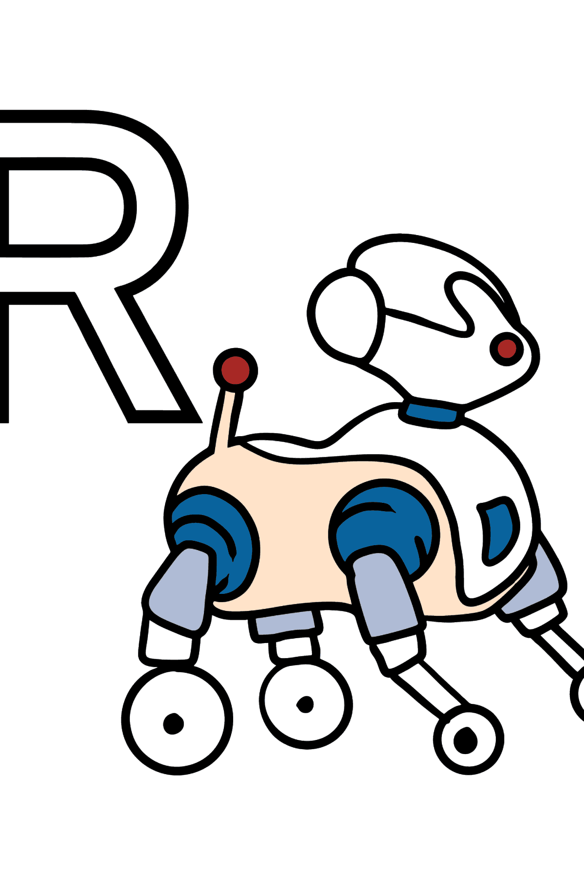 English Letter R coloring pages - ROBOT - Coloring Pages for Kids