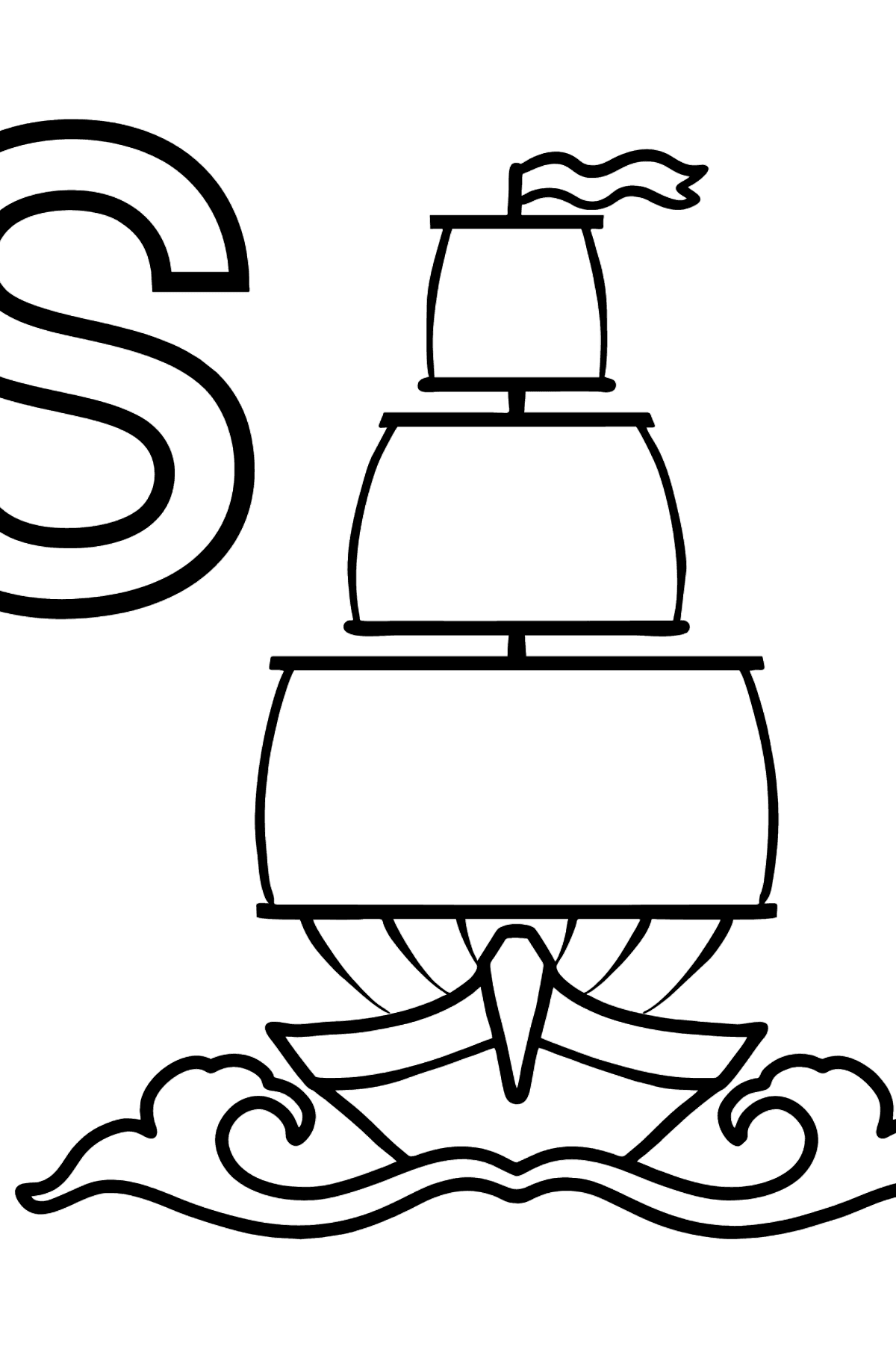 English Letter S coloring pages - SAILBOAT - Coloring Pages for Kids