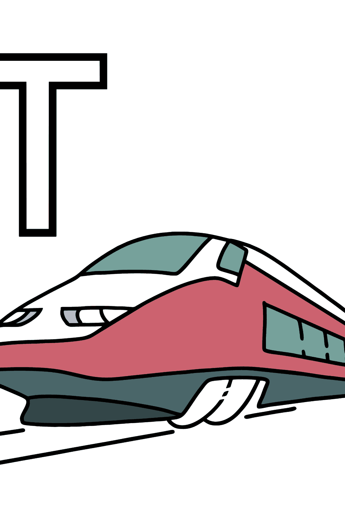 English Letter T coloring pages - TRAIN - Coloring Pages for Kids