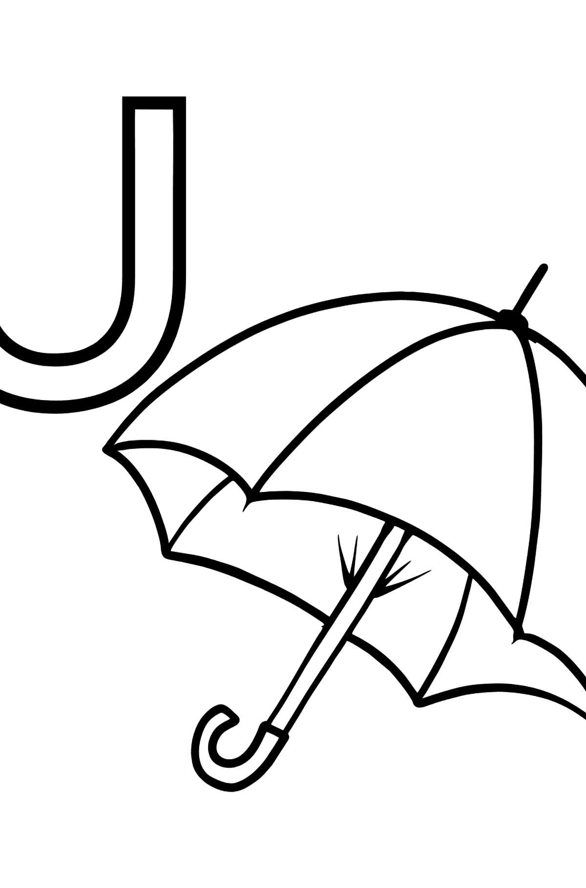 English Letter U coloring pages - UMBRELLA - Coloring Pages for Kids