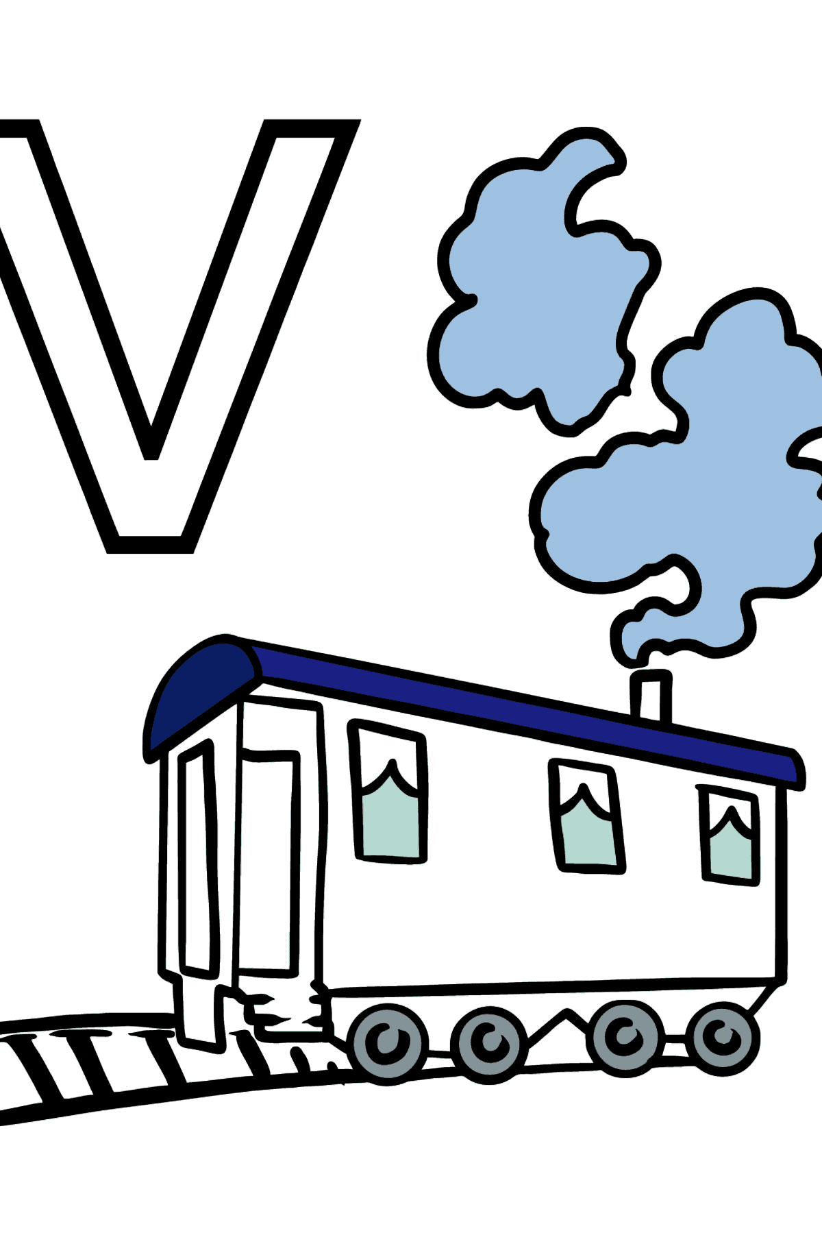 English Letter V coloring pages - VAGON - Coloring Pages for Kids
