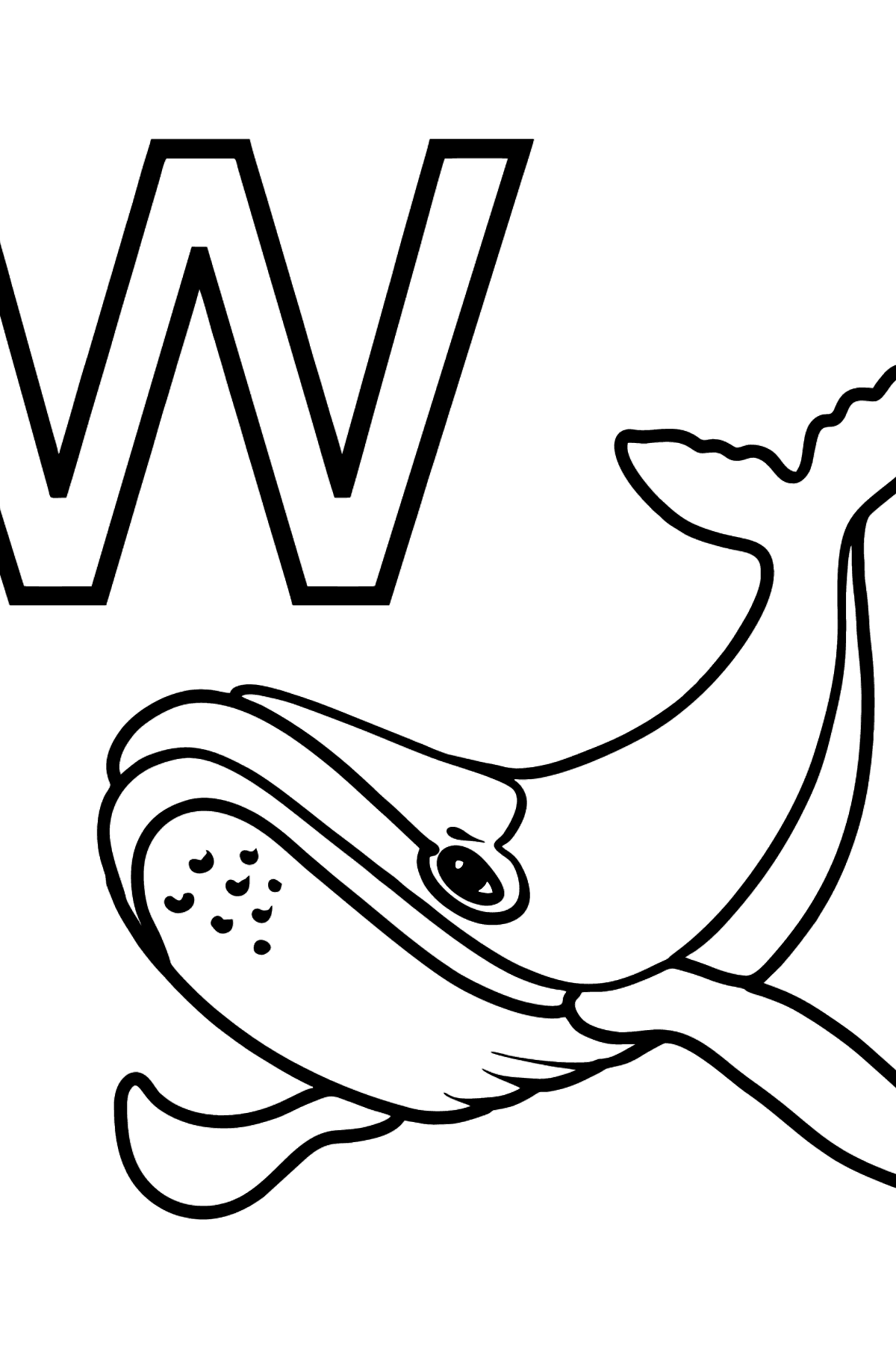English Letter W coloring pages - WHALE - Coloring Pages for Kids