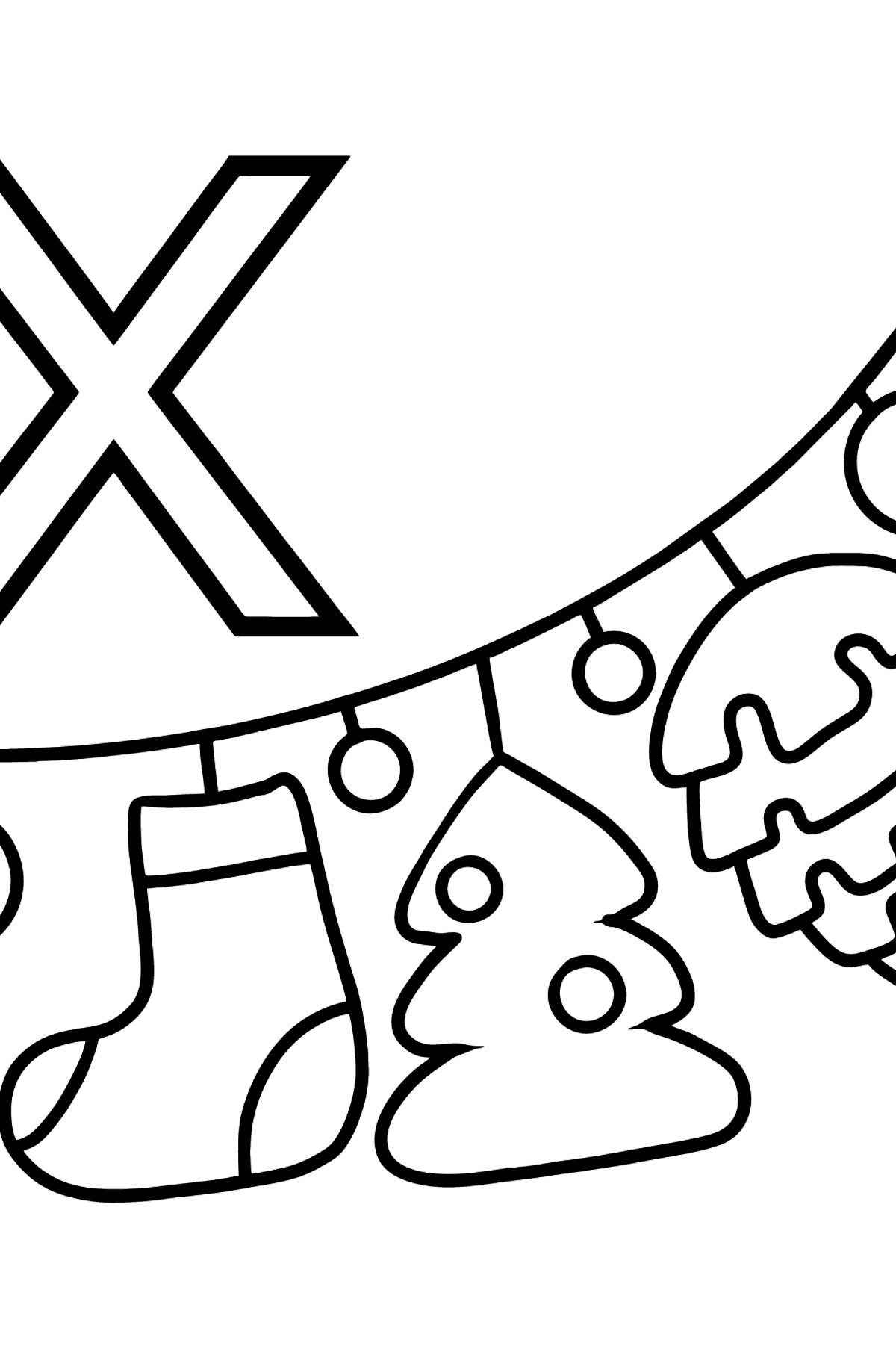 English Letter X coloring pages - XMAS (CHRISTMAS) - Coloring Pages for Kids