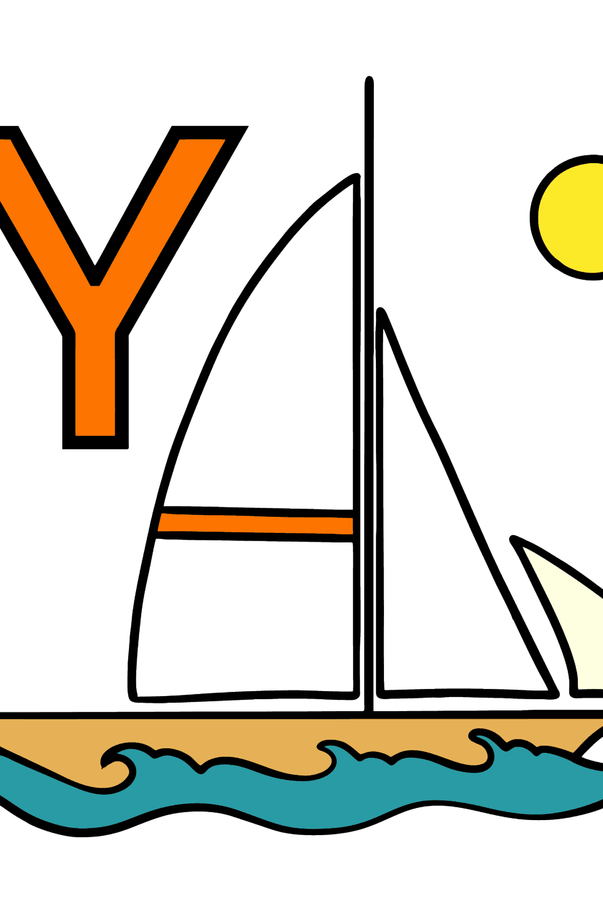 English Letter Y coloring pages - YACHT - Coloring Pages for Kids