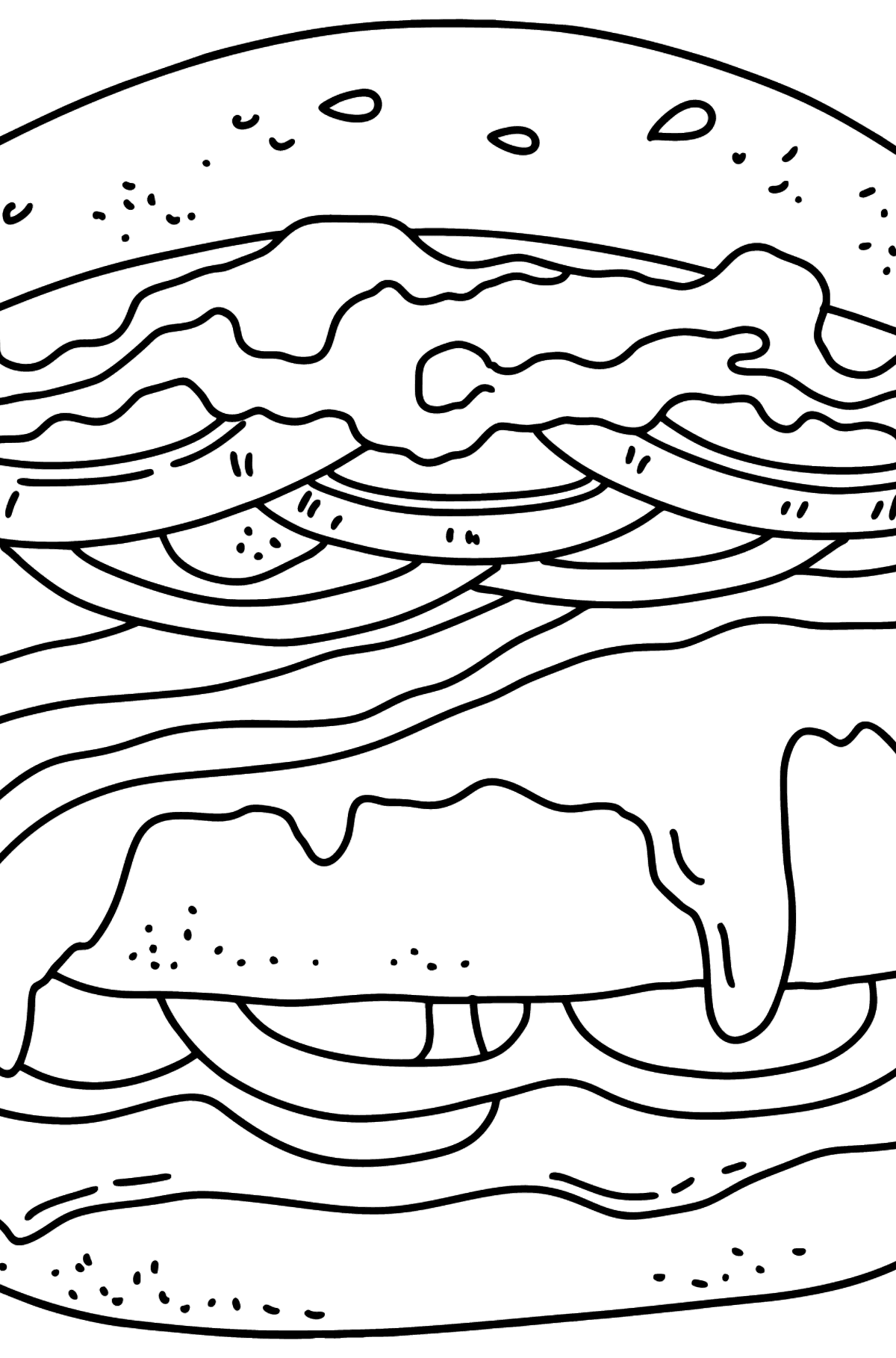 Delicious Hamburger coloring page - Coloring Pages for Kids