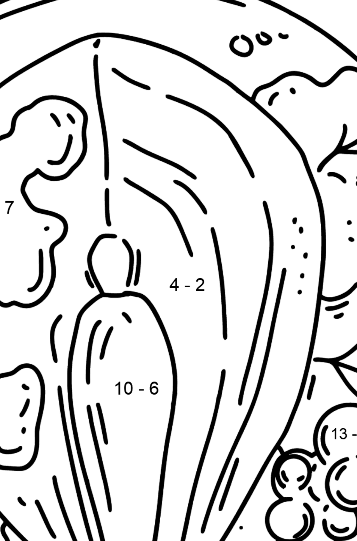 Dinner - Baked Trout coloring page - Math Coloring - Subtraction for Kids