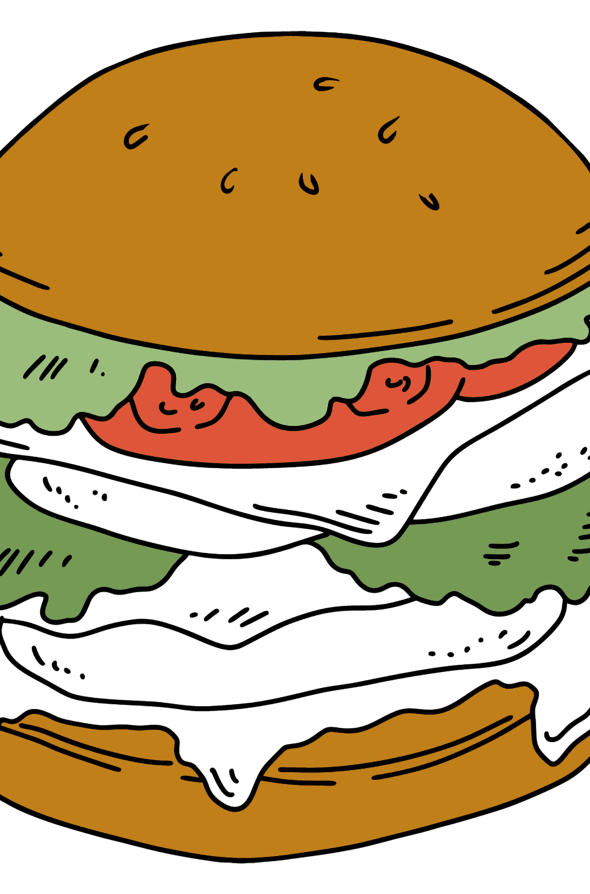 Juicy Burger coloring page - Coloring Pages for Kids