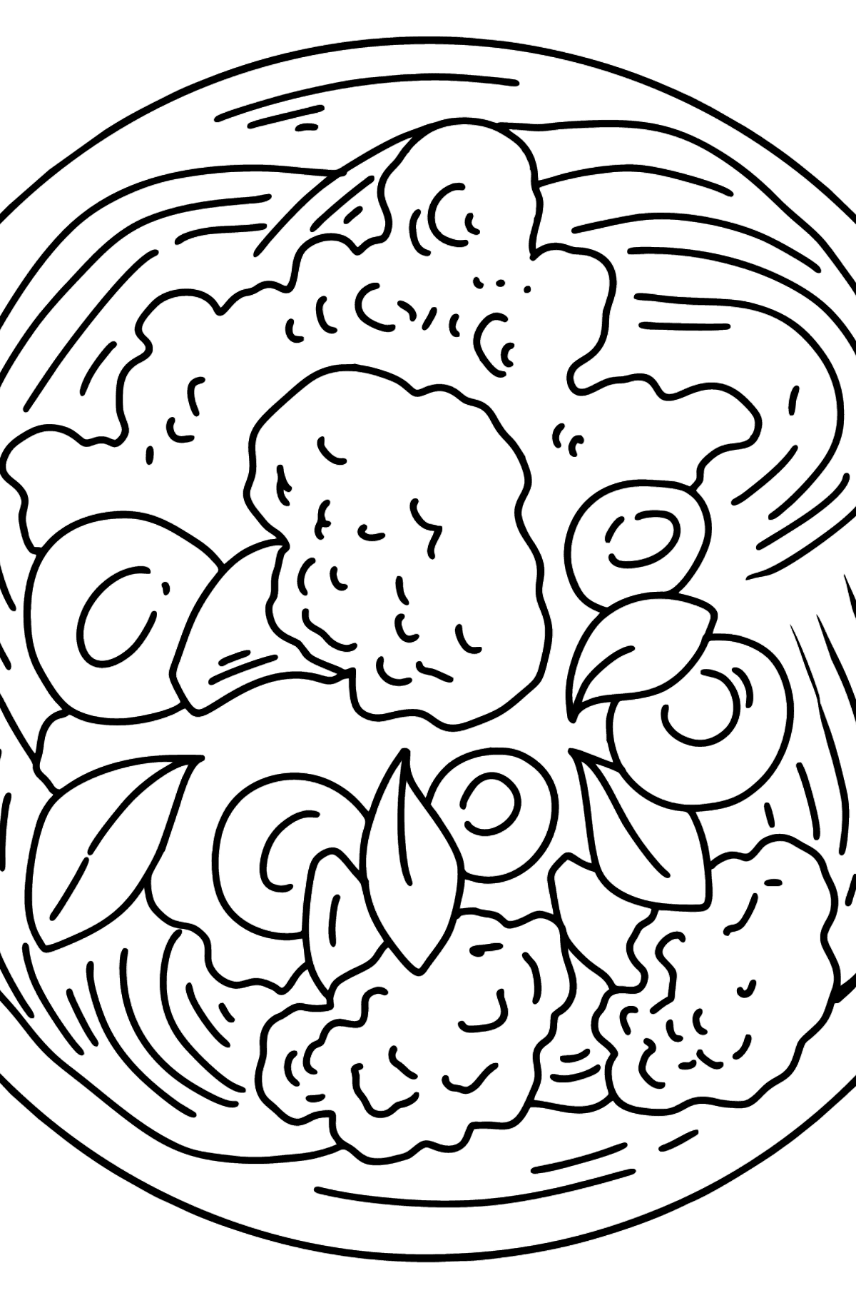 Spaghetti Pasta with Cheese and Broccoli coloring page - Coloring Pages for Kids