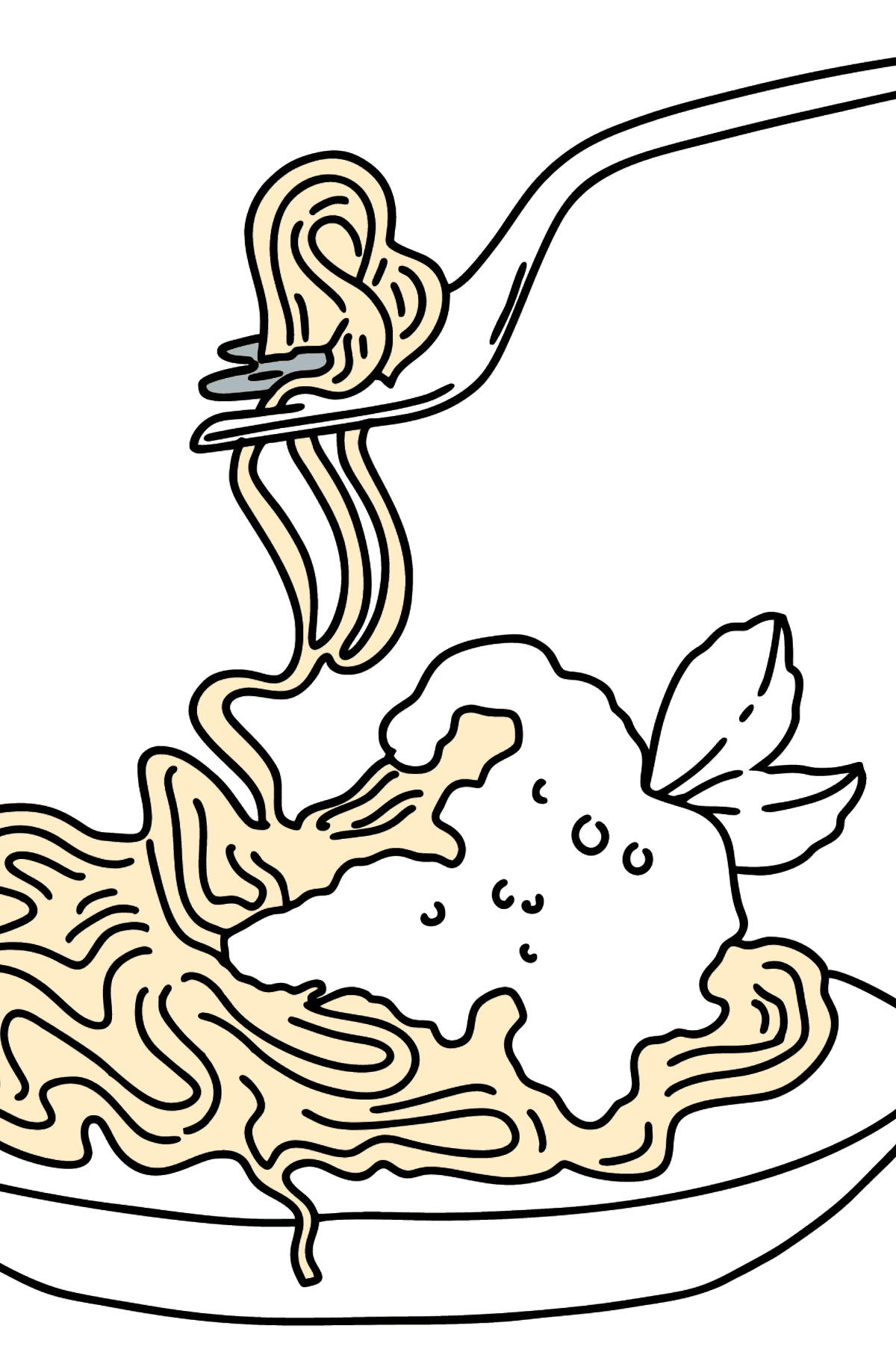 Spaghetti with Tomato Sauce coloring page - Coloring Pages for Kids