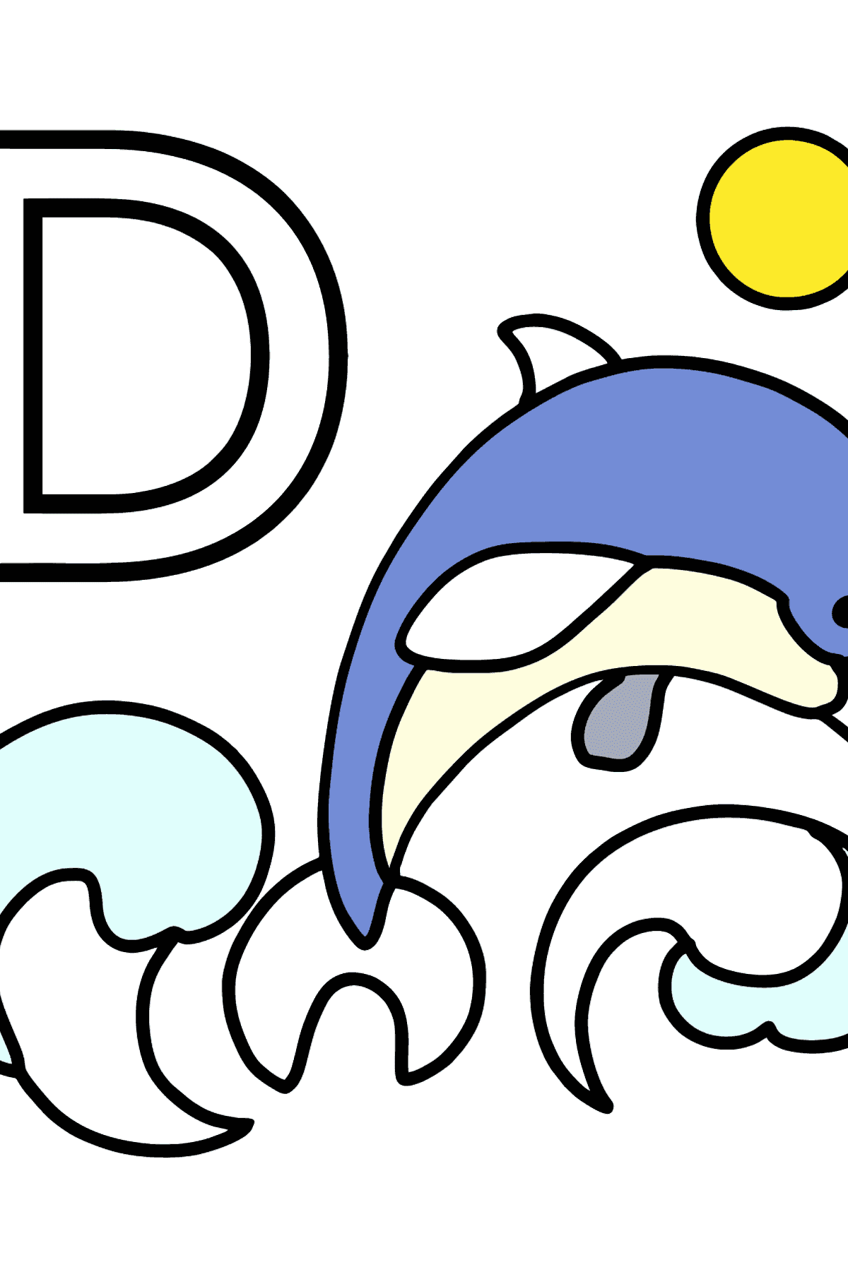 French Letter D coloring pages - DAUPHIN - Coloring Pages for Kids