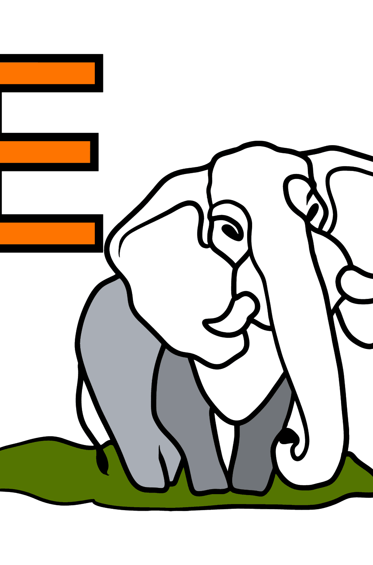 French Letter E coloring pages - ÉLÉPHANT - Coloring Pages for Kids