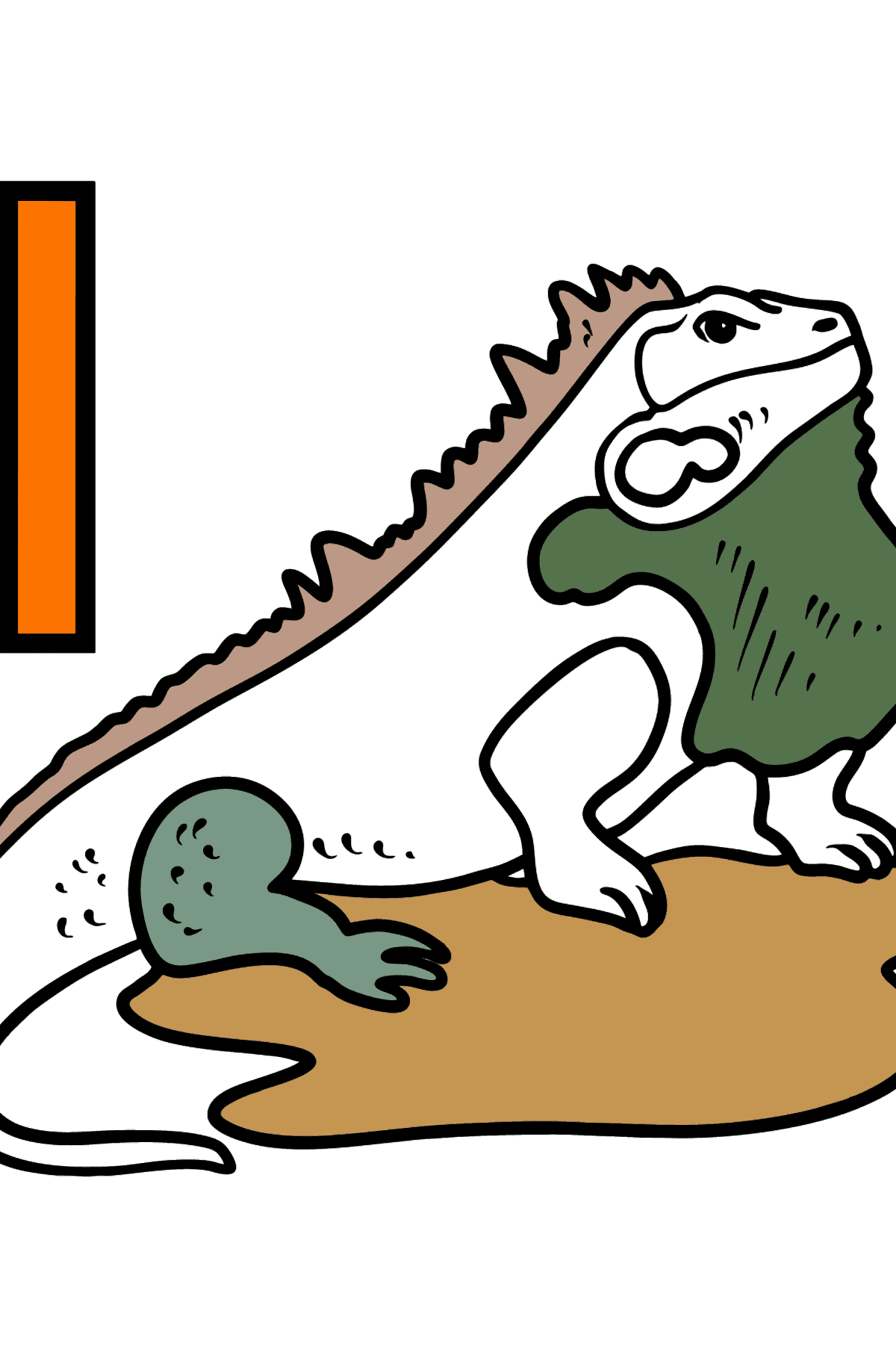 French Letter I coloring pages - IGUANE - Coloring Pages for Kids