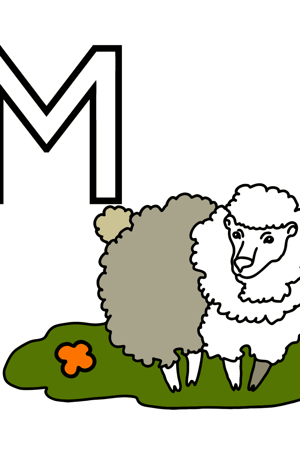 French Letter M coloring pages - MOUTON - Coloring Pages for Kids