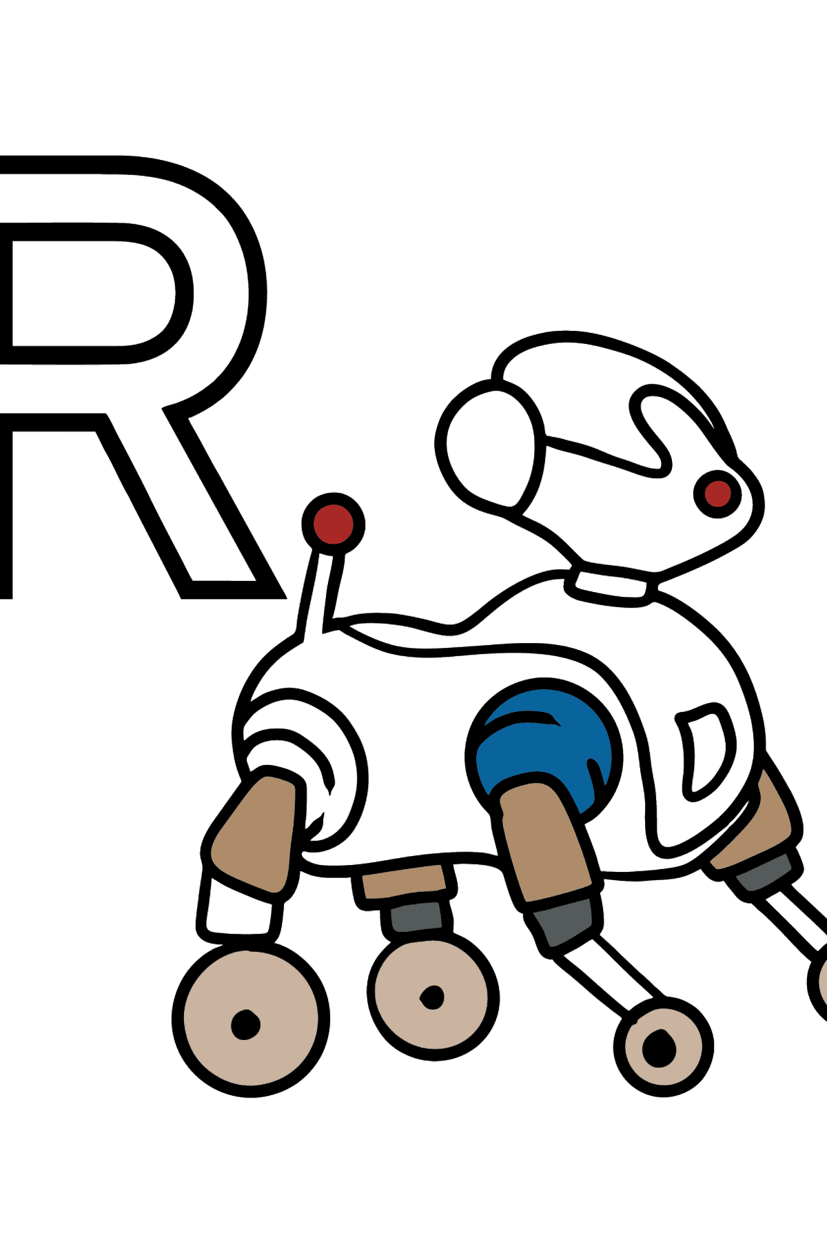 French Letter R coloring pages - ROBOT - Coloring Pages for Kids