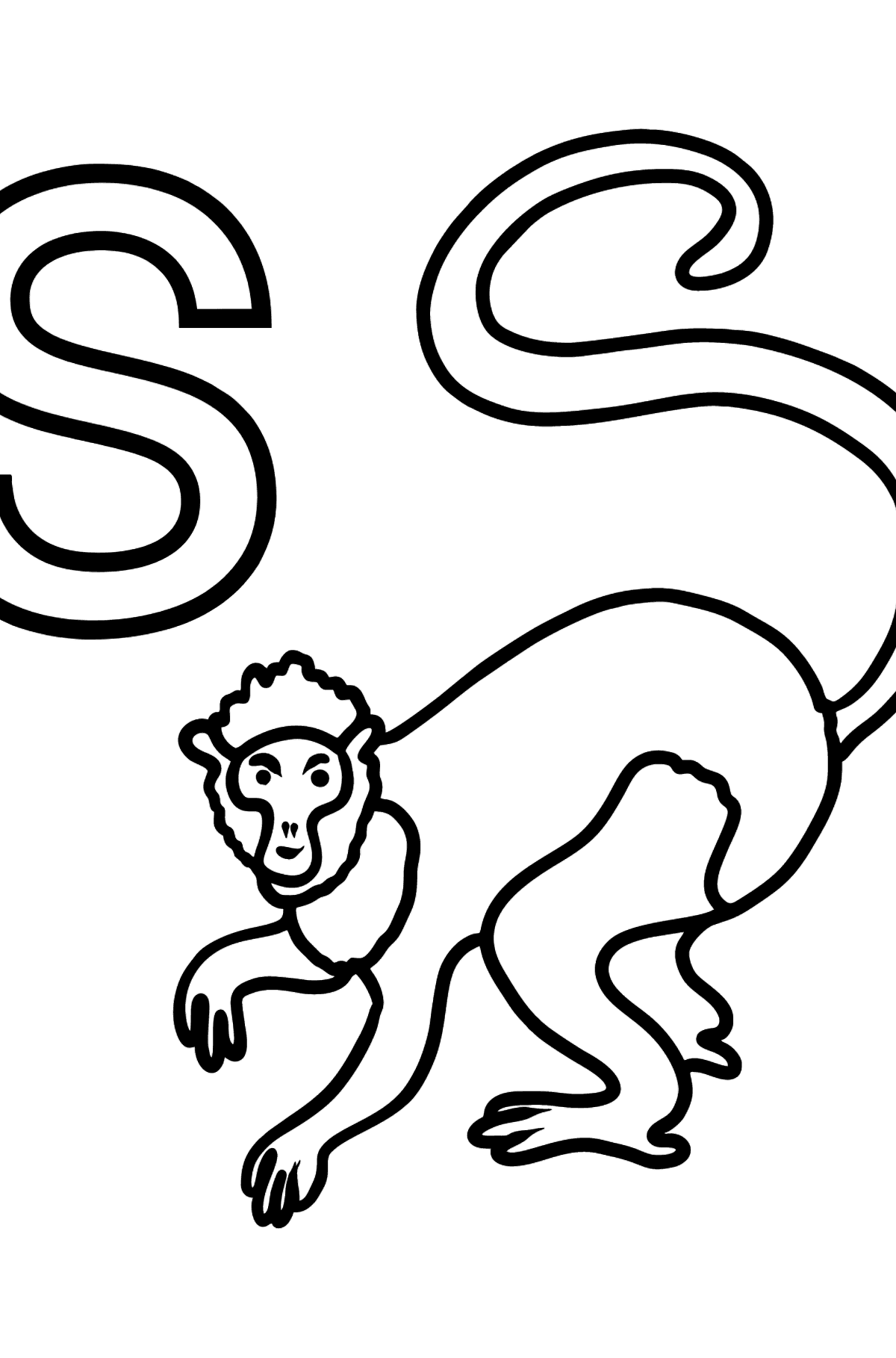 French Letter S coloring pages - SINGE - Coloring Pages for Kids