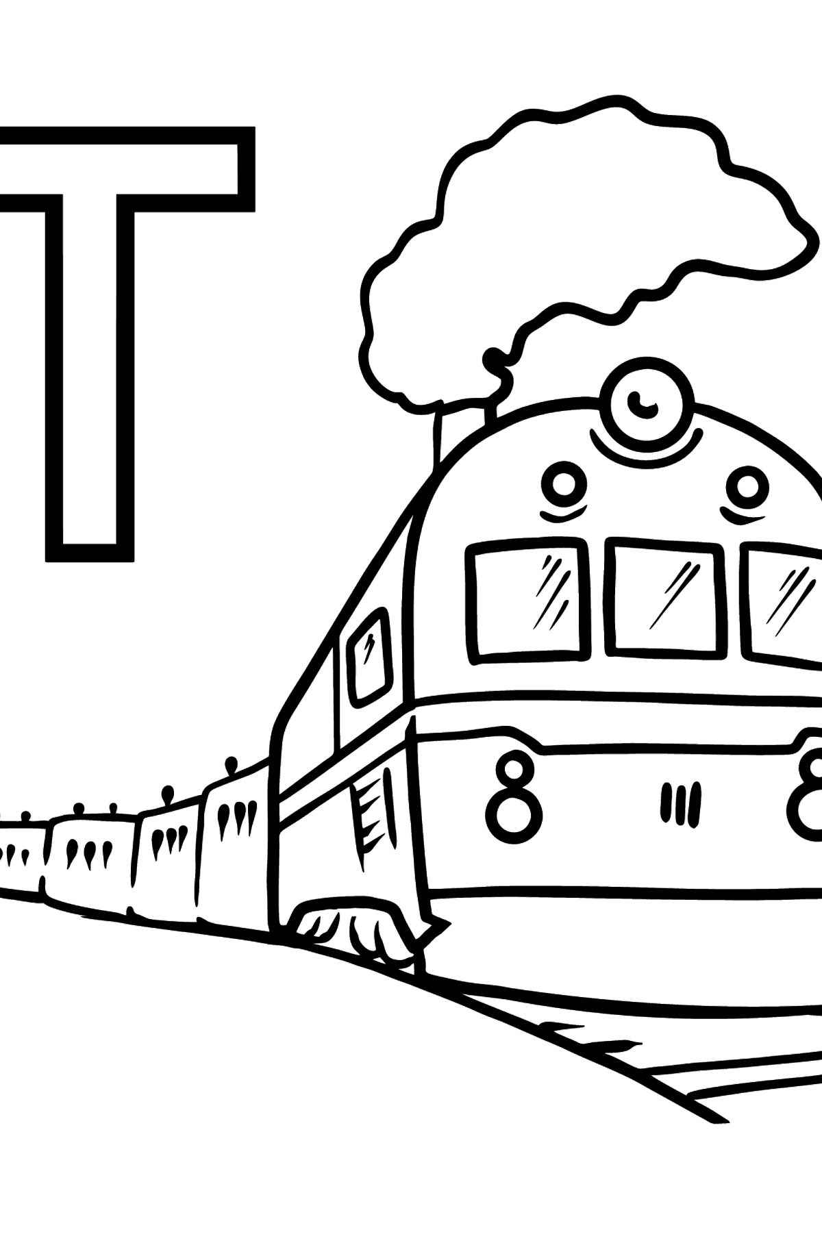 French Letter T coloring pages - TRAIN - Coloring Pages for Kids