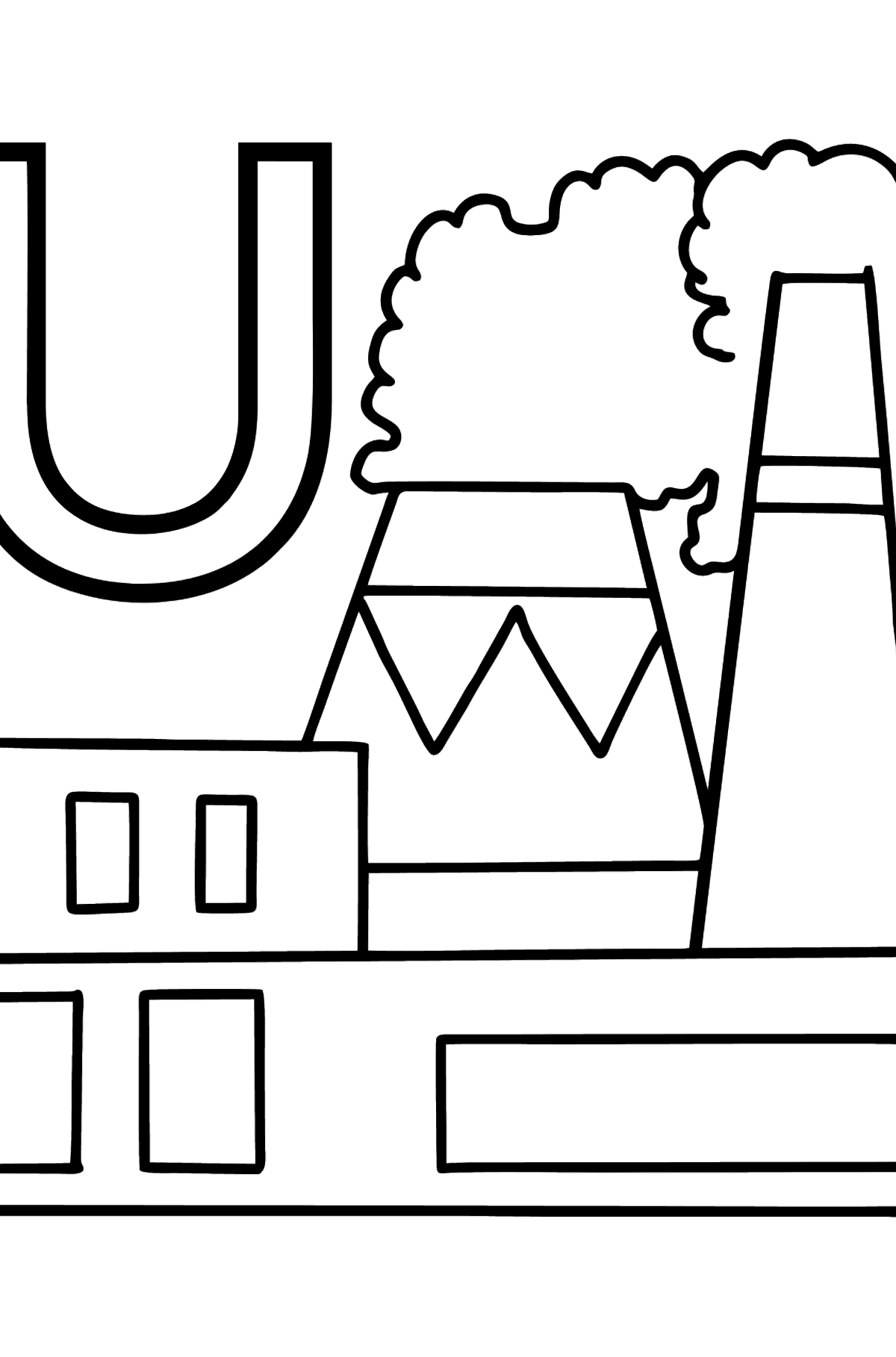 French Letter U coloring pages - USINE - Coloring Pages for Kids