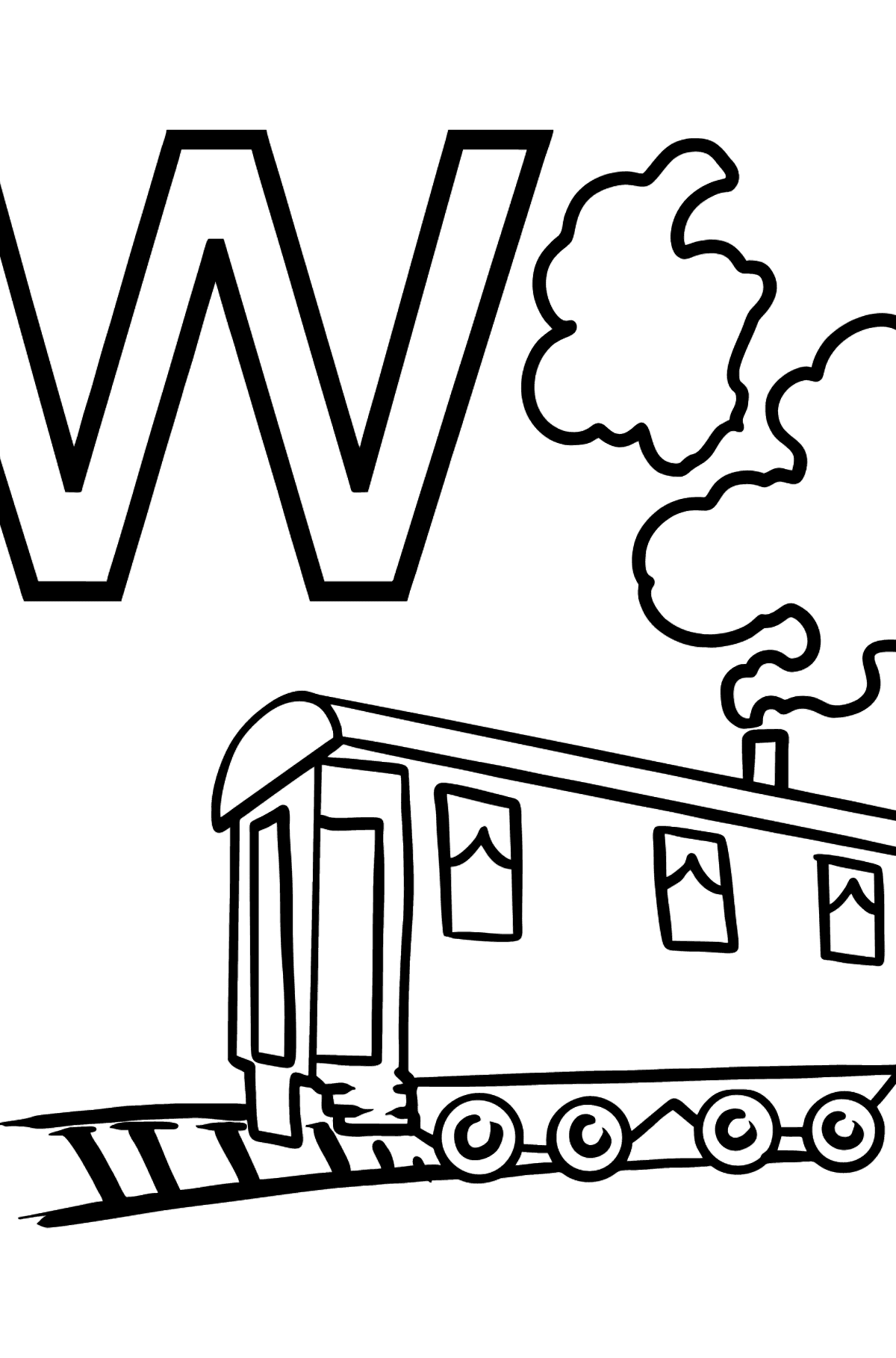 French Letter W coloring pages - WAGON - Coloring Pages for Kids