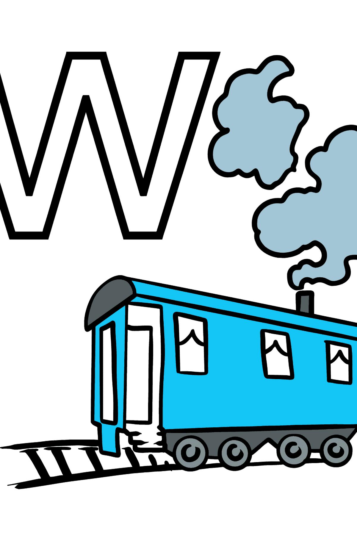 Coloriage - Lettre française W - WAGON - Coloriages pour les Enfants
