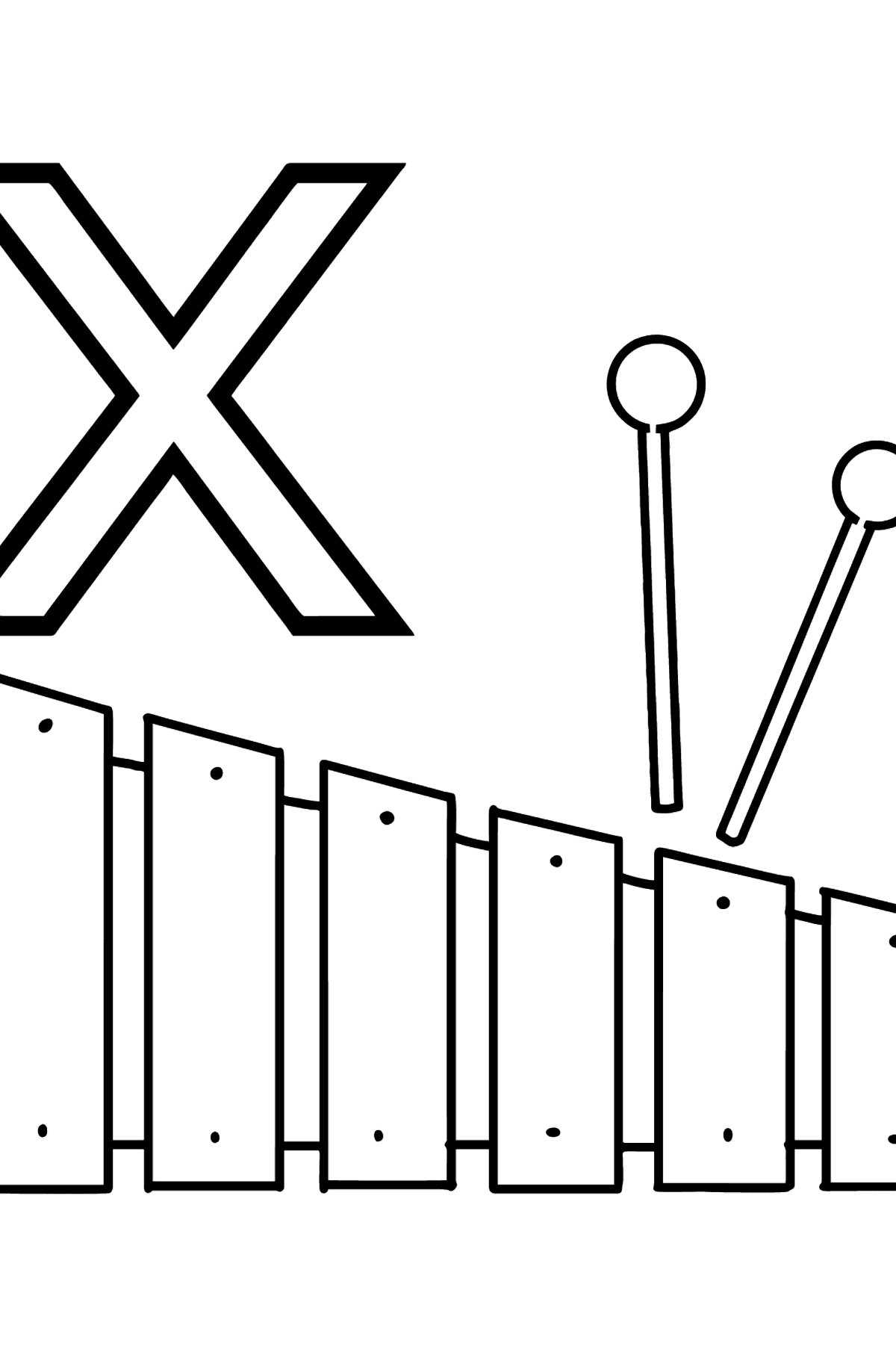 French Letter X coloring pages - XYLOPHONE - Coloring Pages for Kids