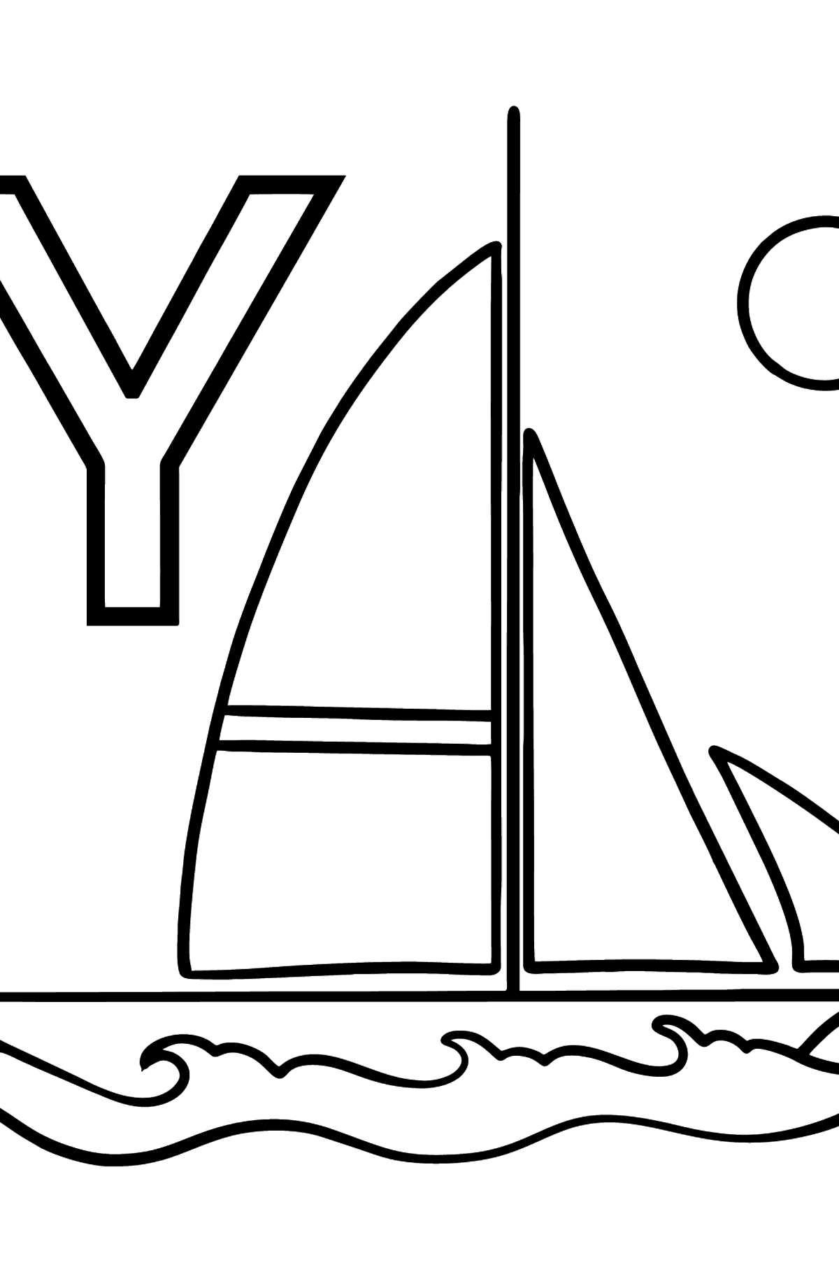 French Letter Y coloring pages - YACHT - Coloring Pages for Kids