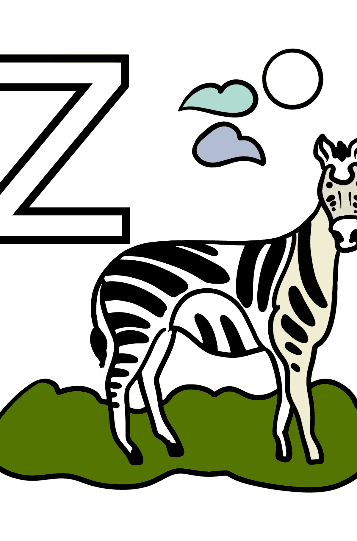 French Letter Z coloring pages - ZÈBRE - Coloring Pages for Kids