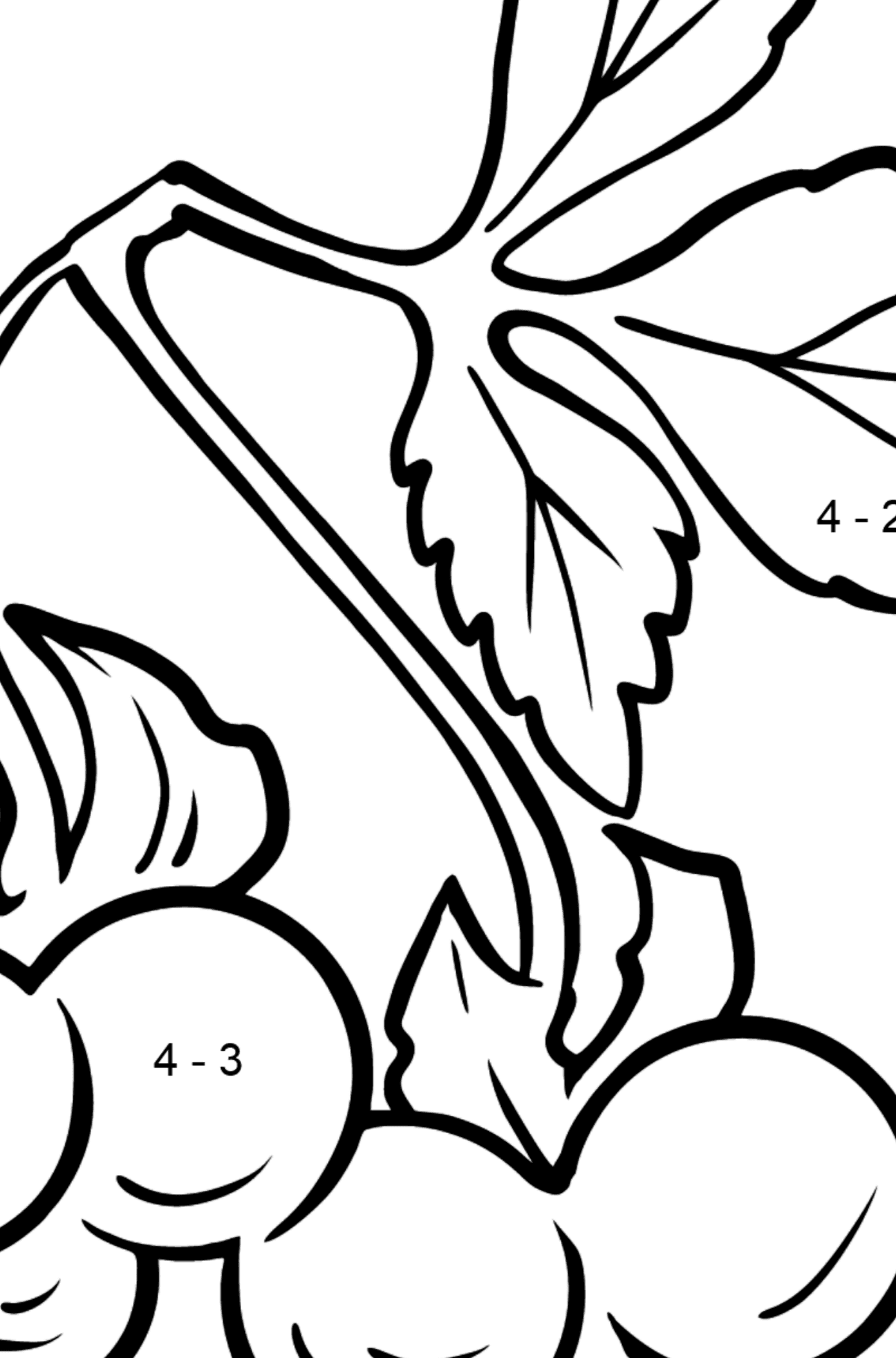 Blackberry coloring page - Math Coloring - Subtraction for Kids