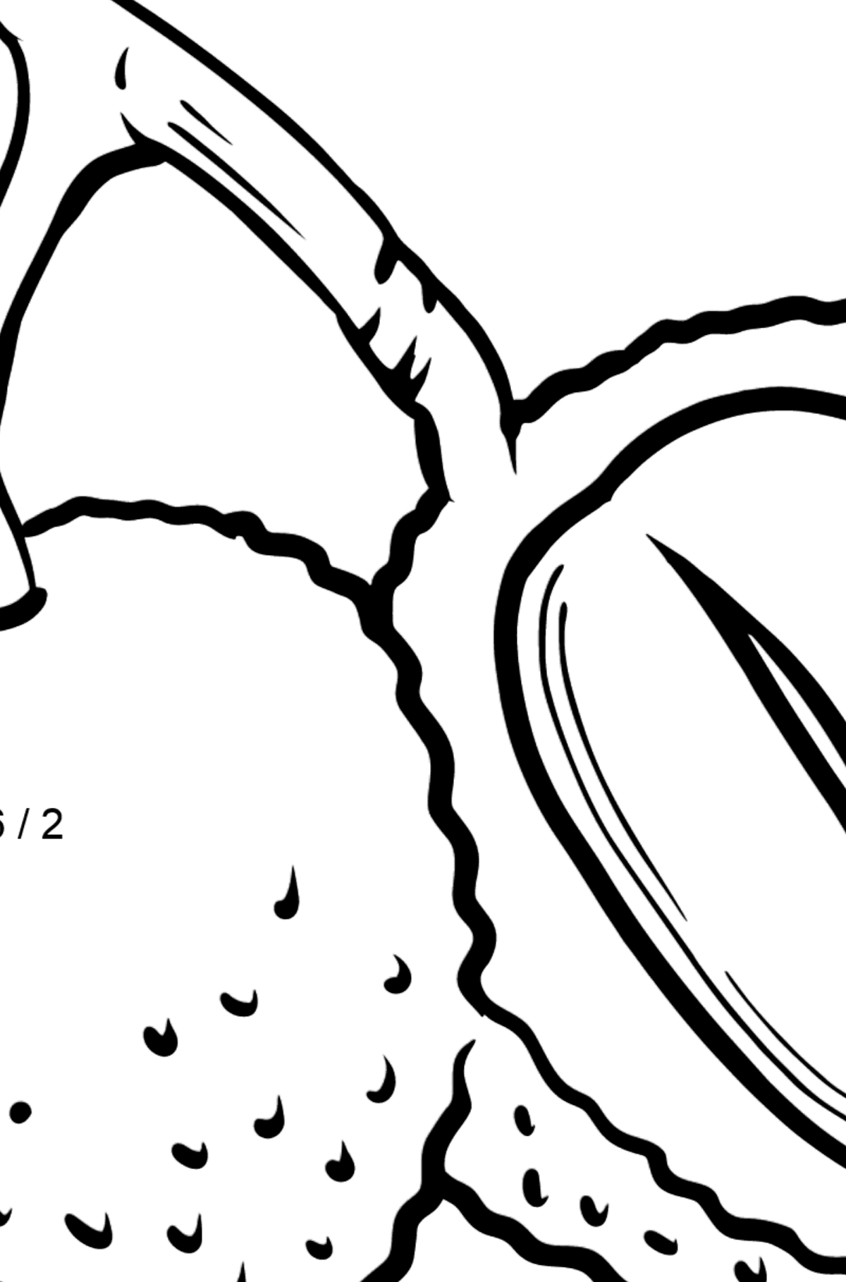 Durian coloring page - Math Coloring - Division for Kids